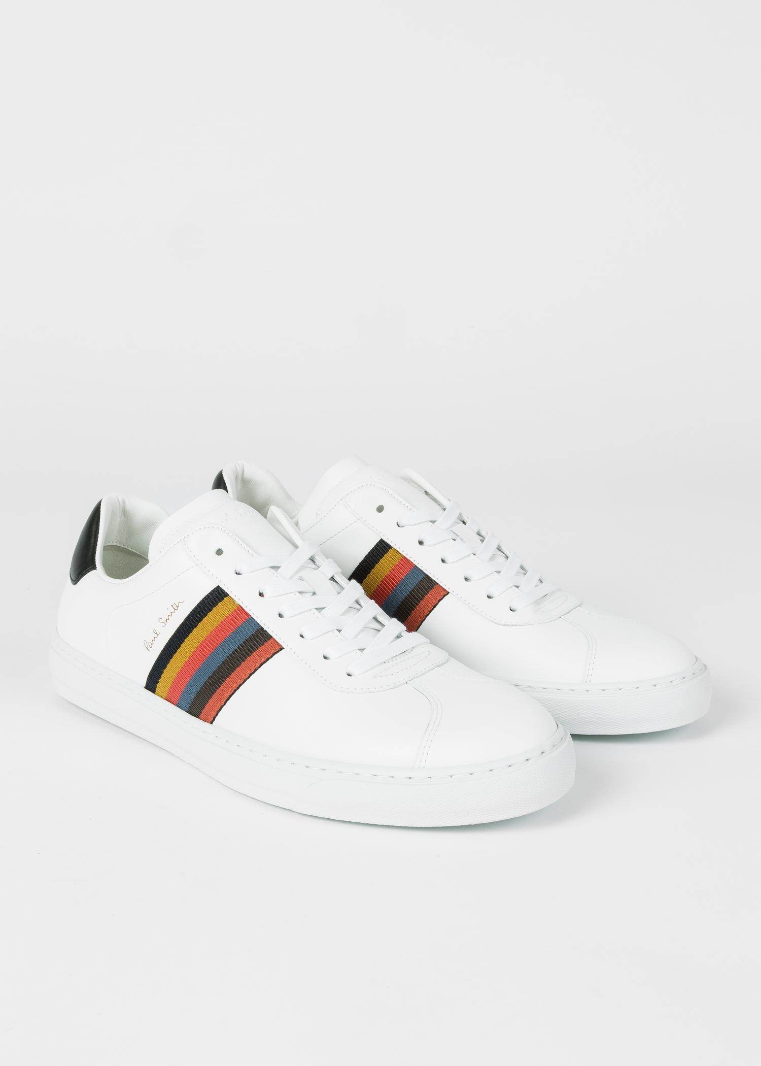 greatvarieties popular style store Men's White 'Bright Stripe' Leather 'Levon' Trainers