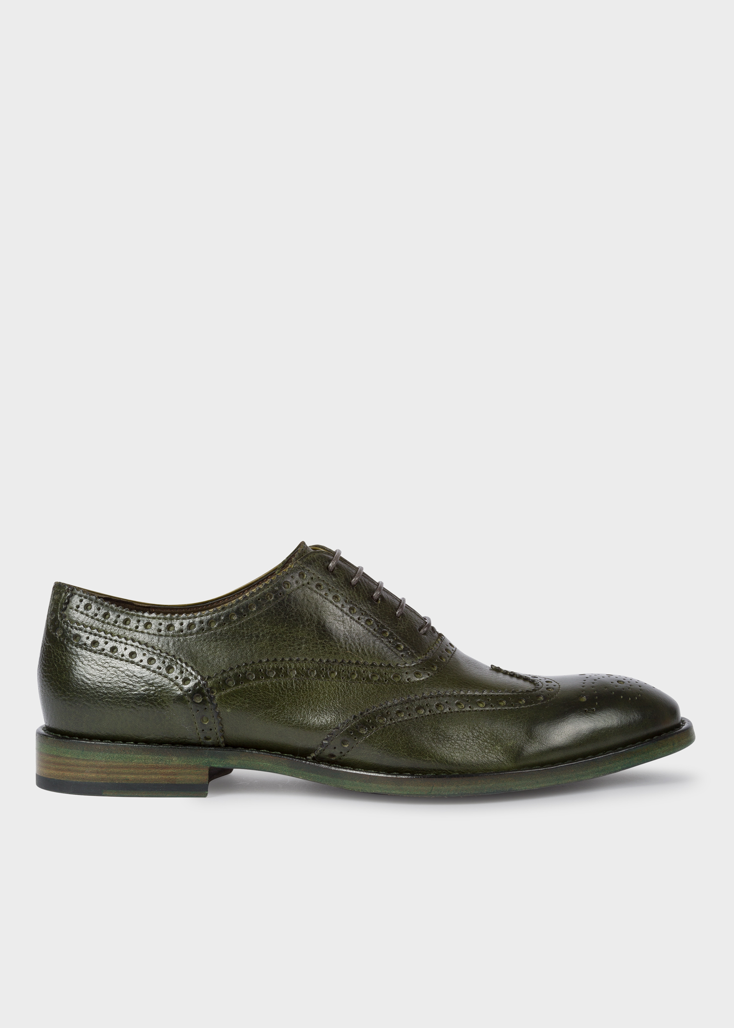 5f7d5d94d3d Men's Dark Green Leather 'Munro' Flexible Travel Brogues - Paul Smith