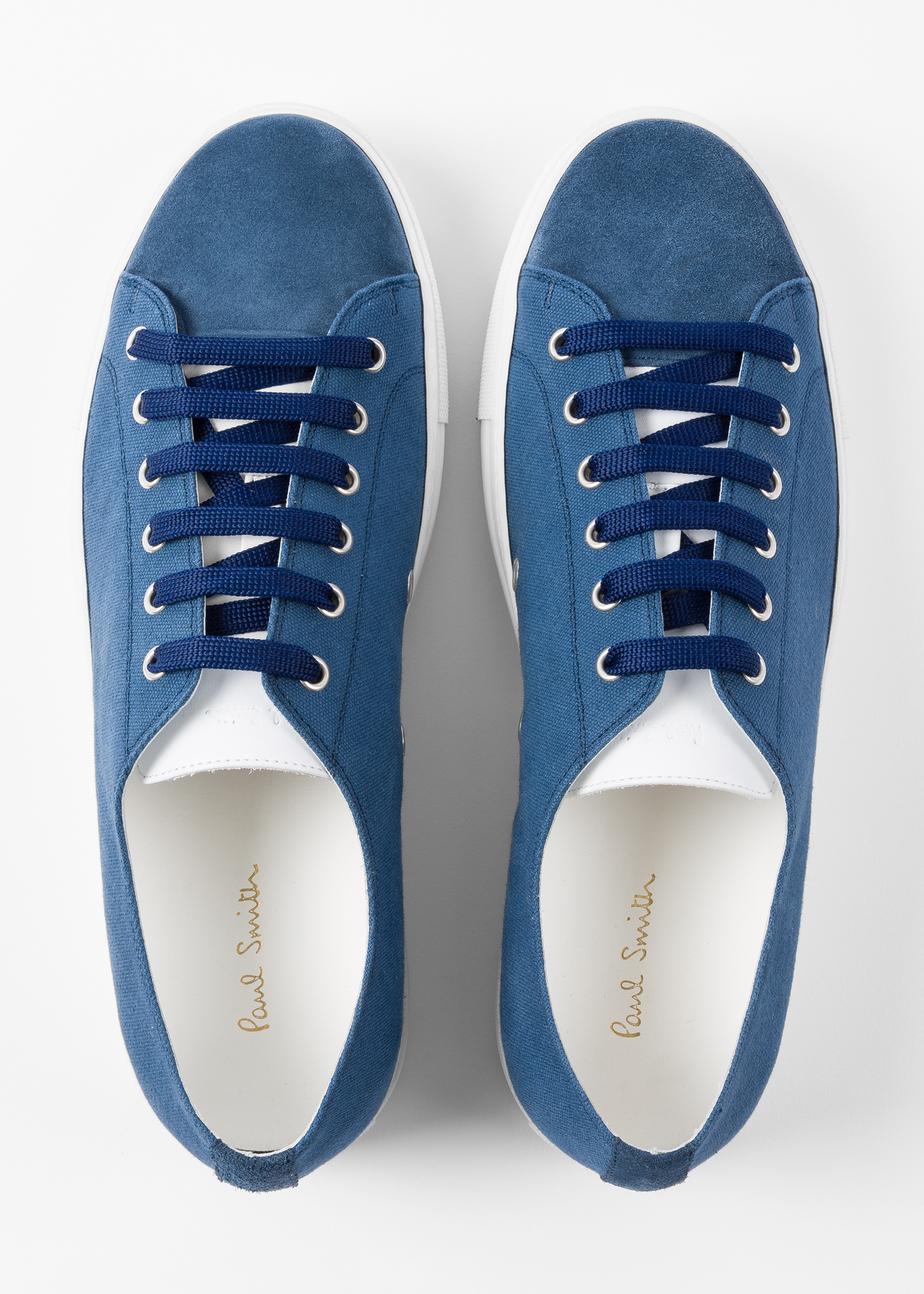 Men S Slate Blue Canvas Sotto Trainers With Suede Trims