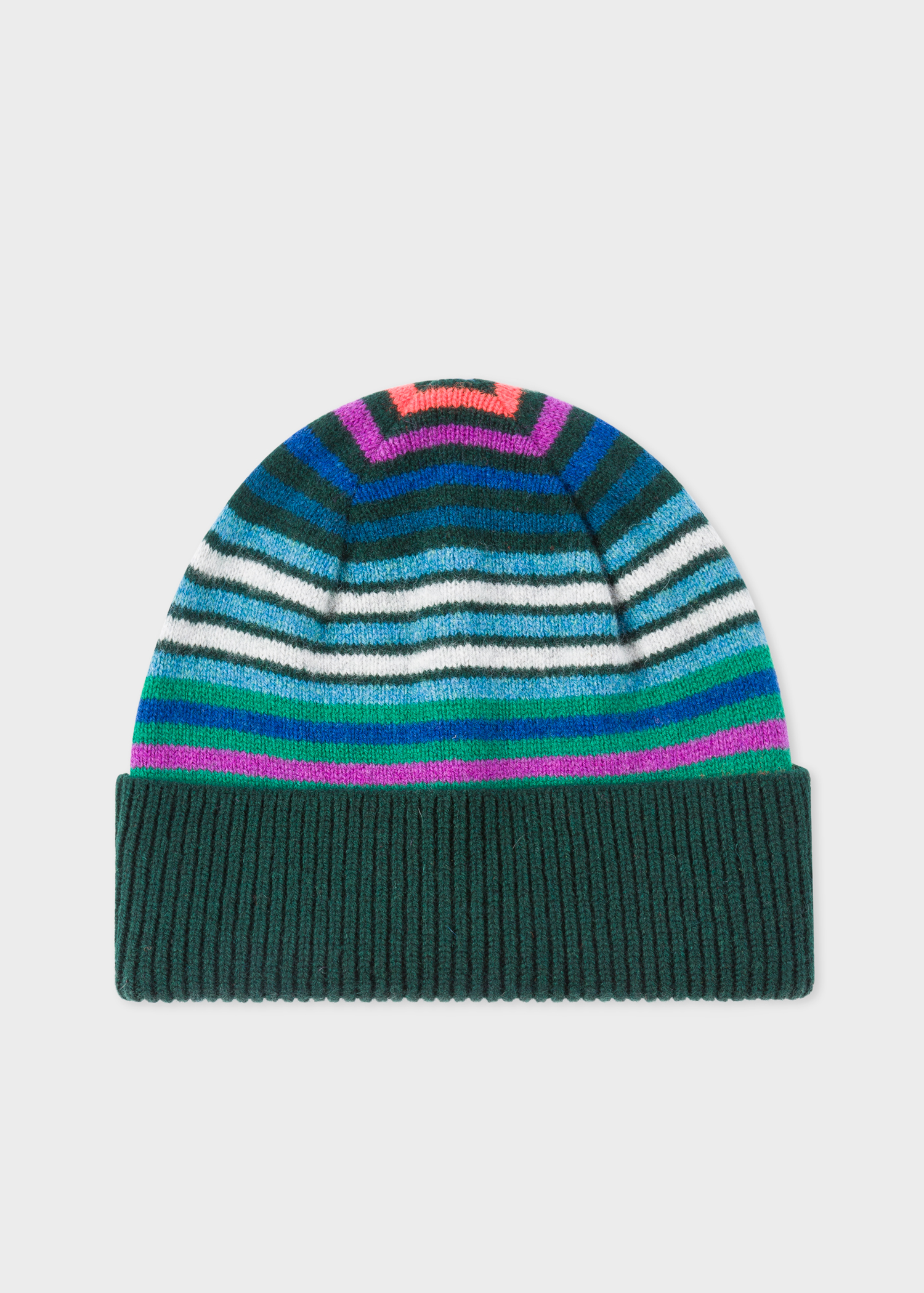 Men s Dark Green Striped Wool Beanie Hat - Paul Smith Europe 4bf9592d1dd
