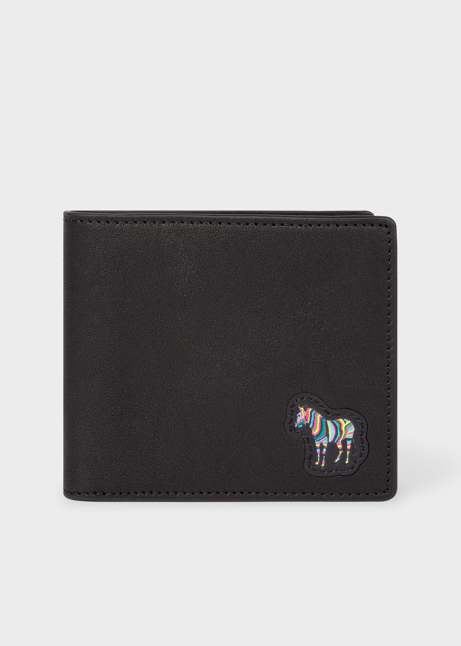 Men S Black Zebra Appliqu 233 Leather Billfold Wallet