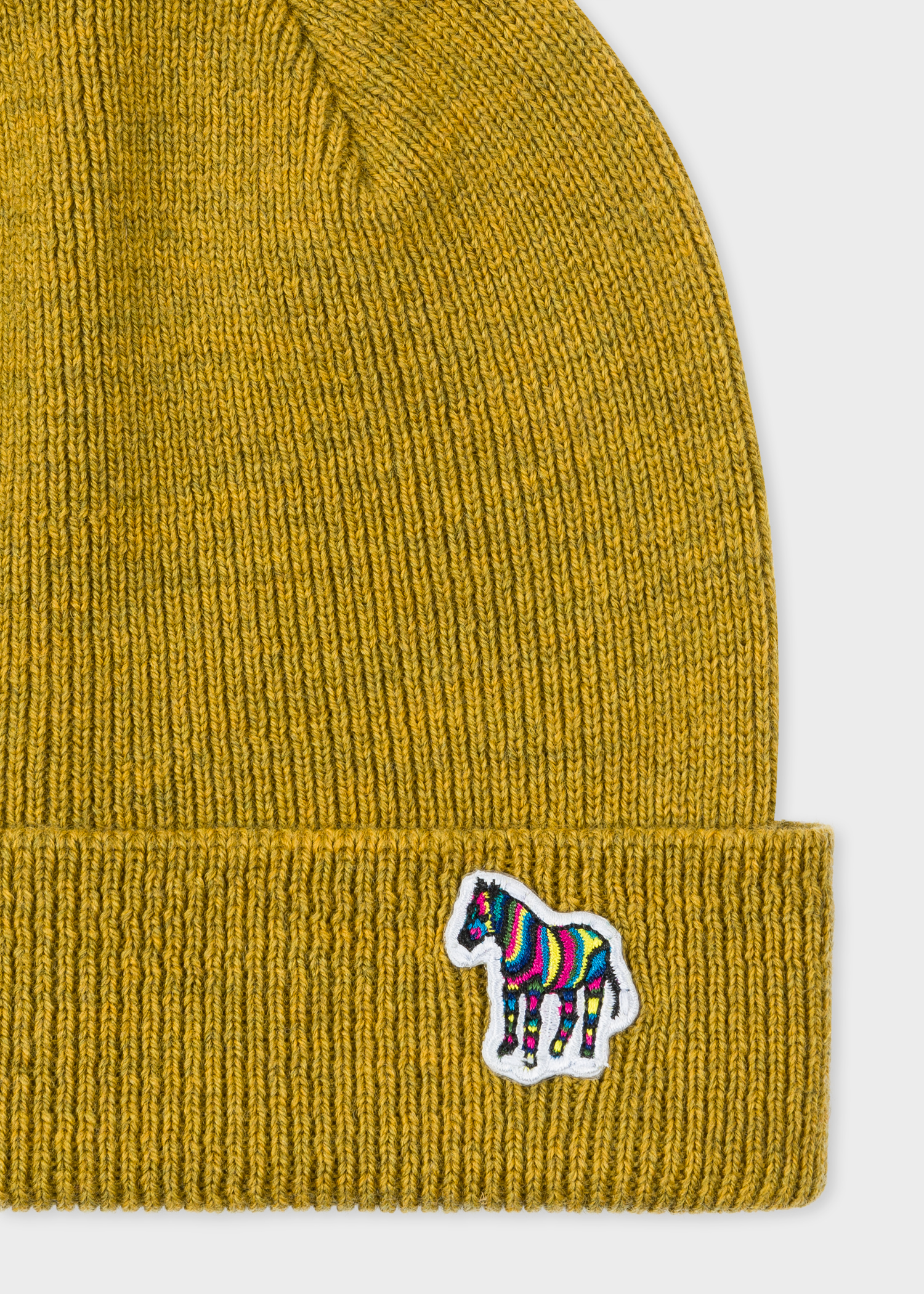 Men s Mustard  Zebra  Logo Ribbed Lambswool Beanie Hat - Paul Smith Asia f84719d07e0