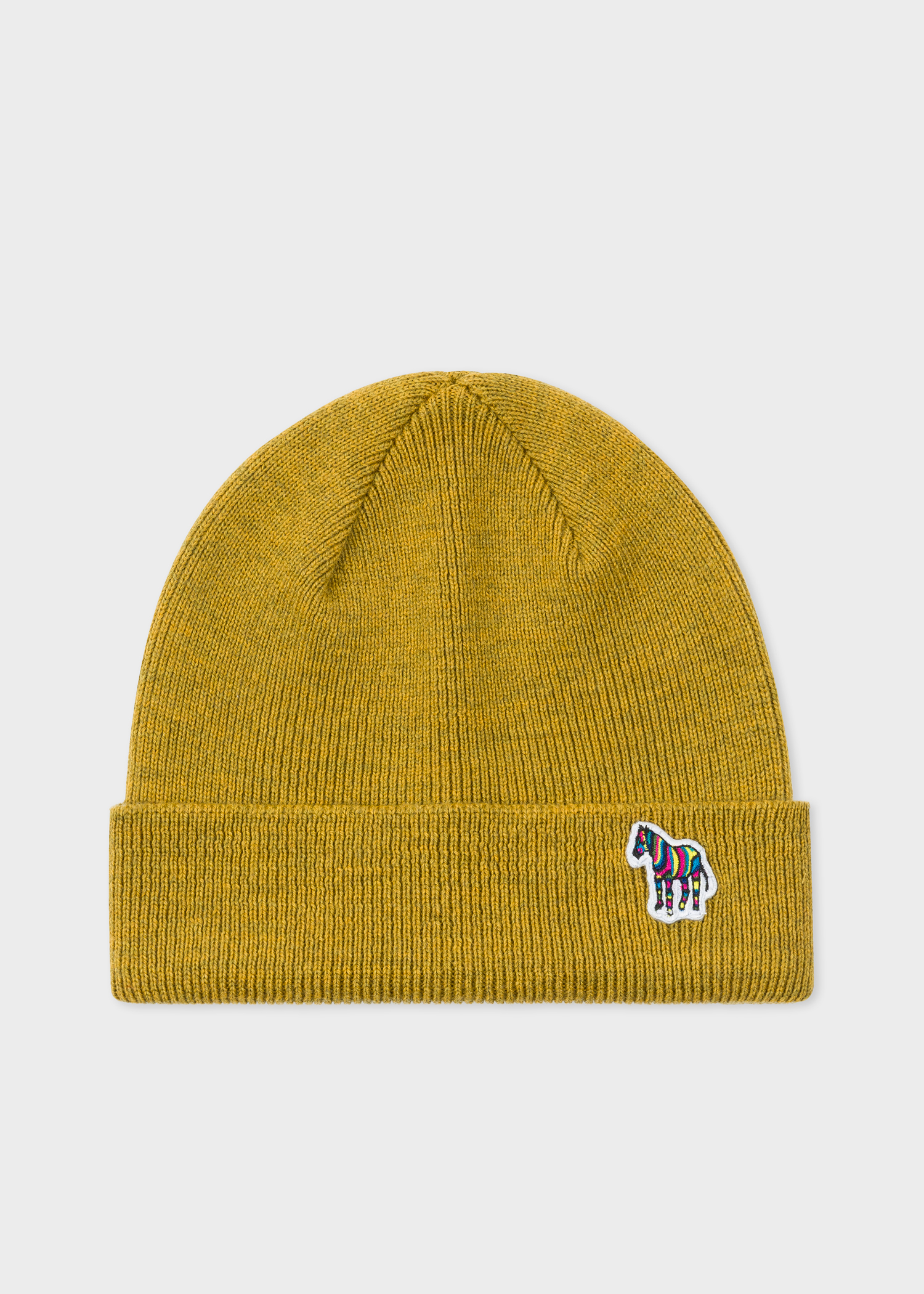Front view - Men s Mustard  Zebra  Logo Ribbed Lambswool Beanie Hat Paul  Smith 3ab0a5cbdc7
