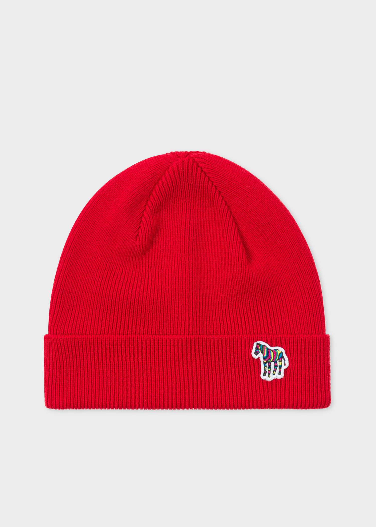 ee191ffa421 Front view - Men s Red  Zebra  Logo Ribbed Lambswool Beanie Hat Paul Smith