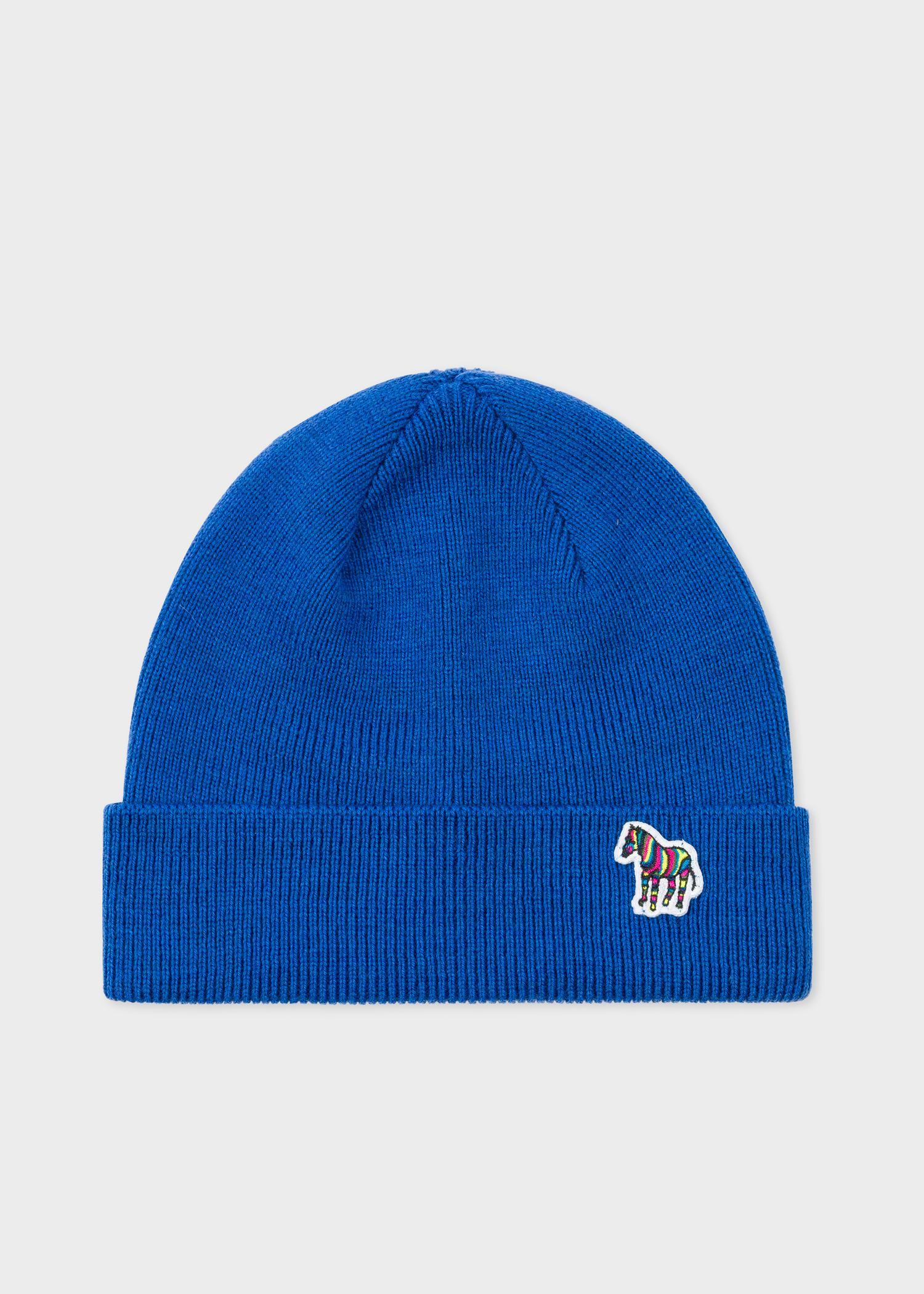 Men s Blue  Zebra  Logo Ribbed Lambswool Beanie Hat - Paul Smith Asia 1655f7082fe