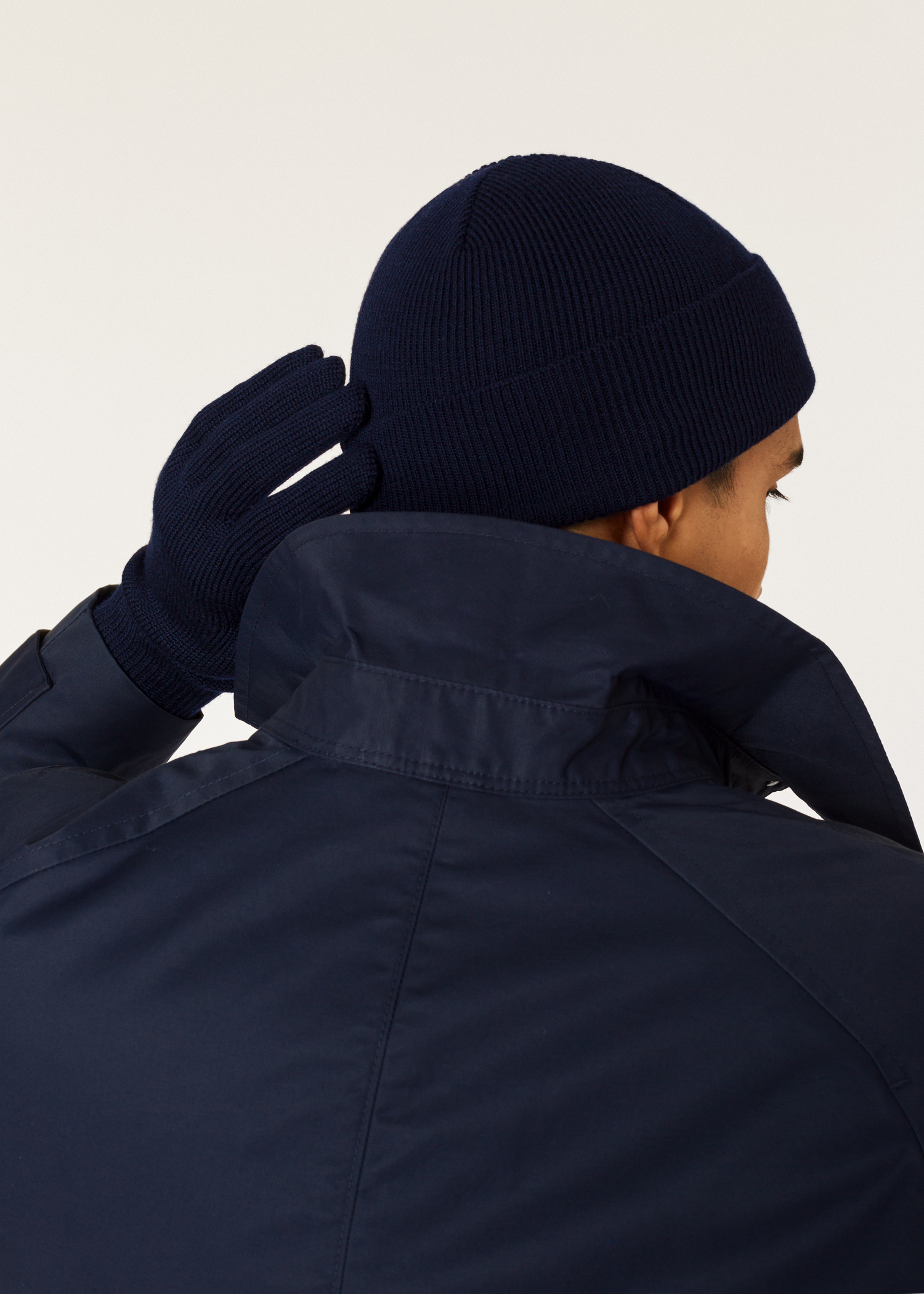 Model back View - Men s Navy  Zebra  Logo Ribbed Lambswool Beanie Hat Paul  Smith 63945ff77a68
