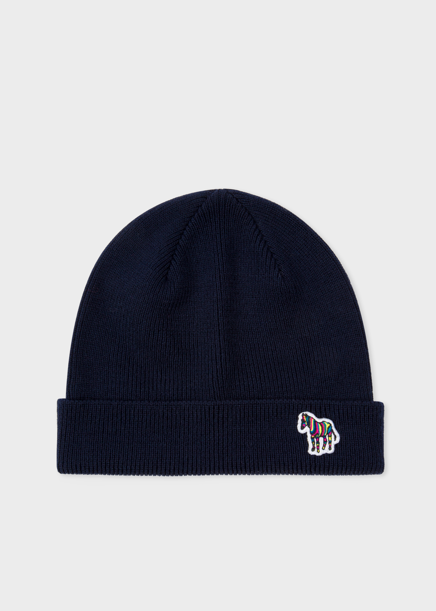 6177cdebb1e Front View - Men s Navy  Zebra  Logo Ribbed Lambswool Beanie Hat Paul Smith