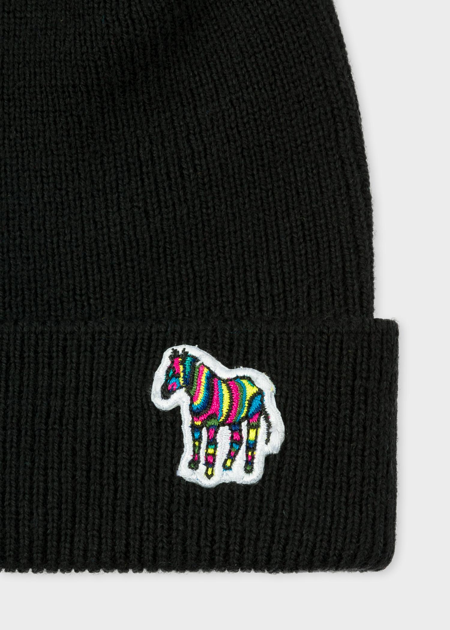 Logo detail view - Men s Black  Zebra  Logo Ribbed Lambswool Beanie Hat  Paul Smith 7565d020e978