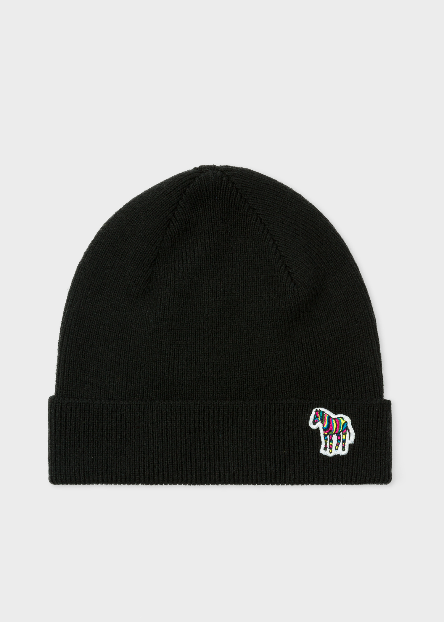 35f44af6f4d Front view - Men s Black  Zebra  Logo Ribbed Lambswool Beanie Hat Paul Smith