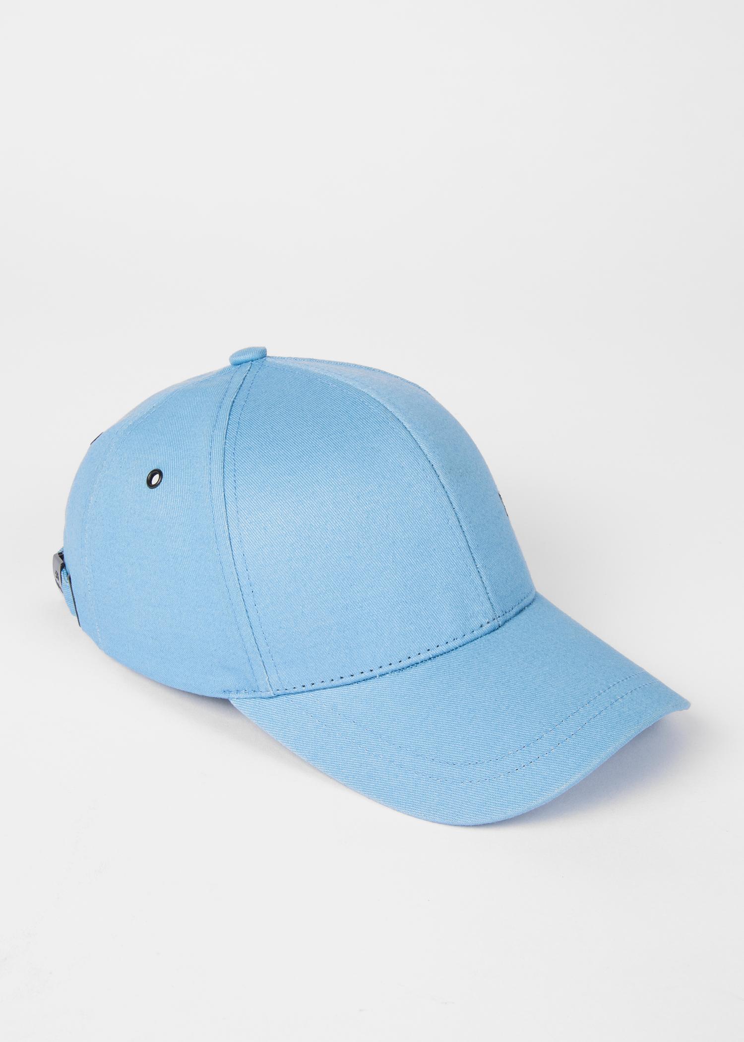 93760d62b75296 Angled View - Men's Sky Blue Cotton Zebra Logo Baseball Cap Paul Smith