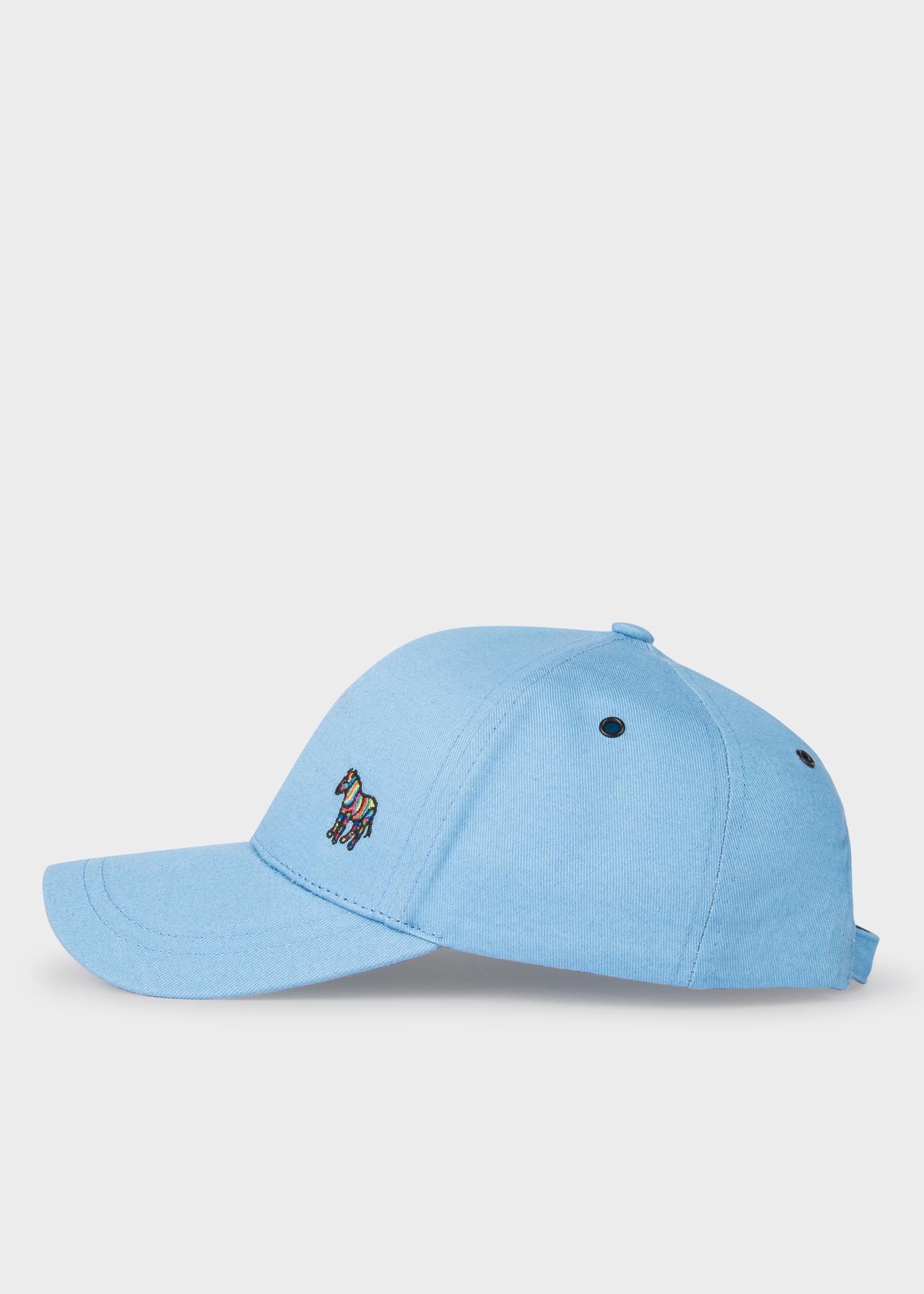 9e44acf32e629a Side View - Men's Sky Blue Cotton Zebra Logo Baseball Cap Paul Smith