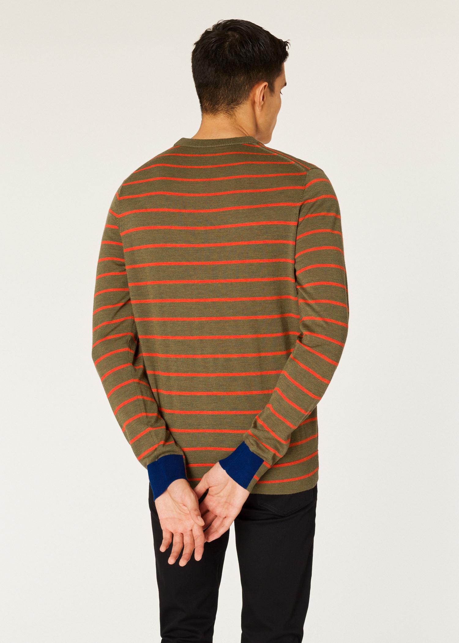 6f09ca102 Model back close up - Men's Khaki Thin Stripe Merino Wool Sweater Paul Smith