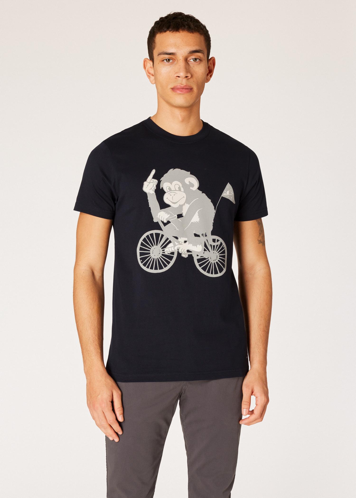 85d1c111ef05 Men s Slim-Fit Navy  Cycling Monkey  Print T-Shirt - Paul Smith US