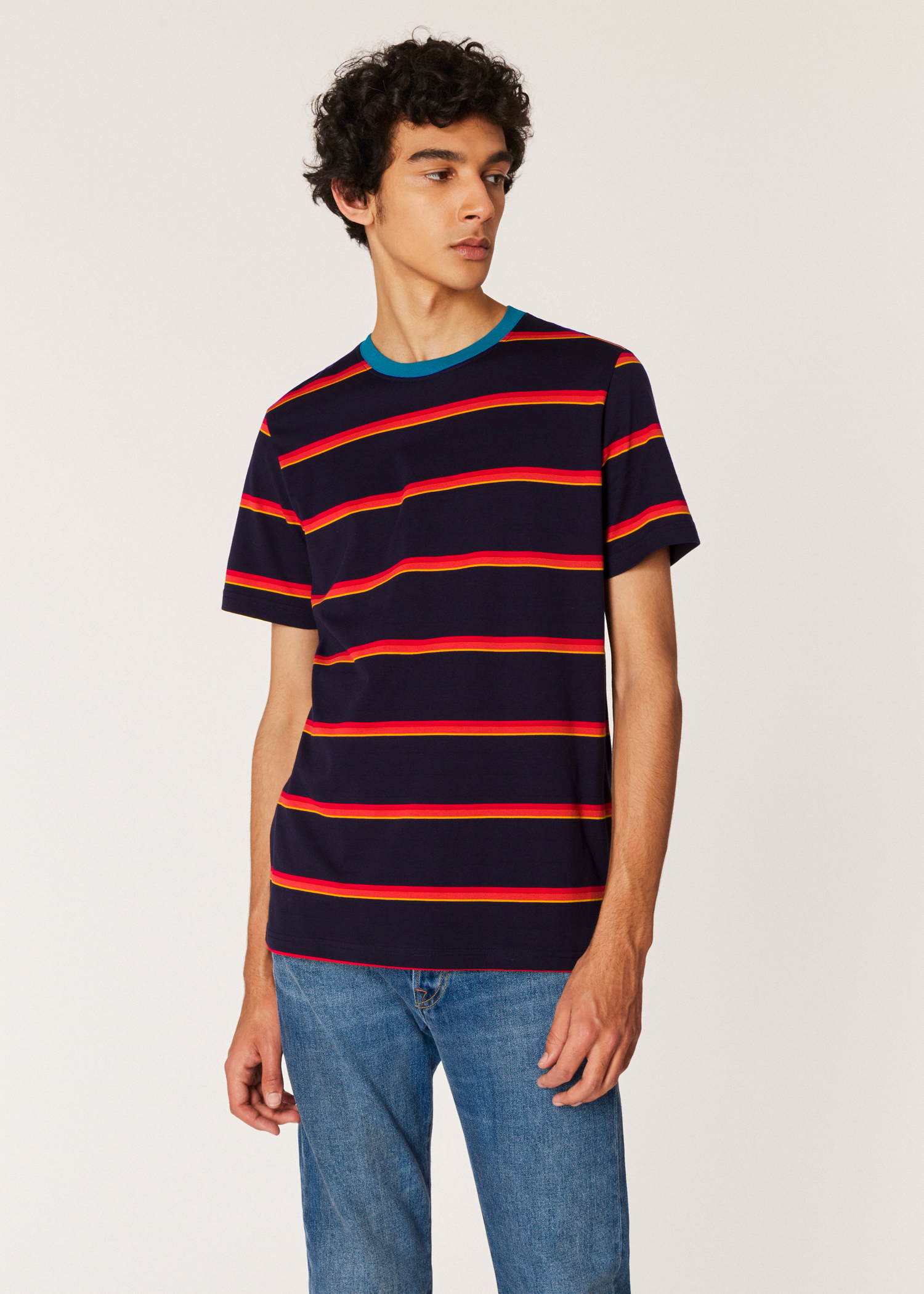 1d72f4d0 Model front close up - Men's Dark Navy T-Shirt With Red Stripes Paul Smith