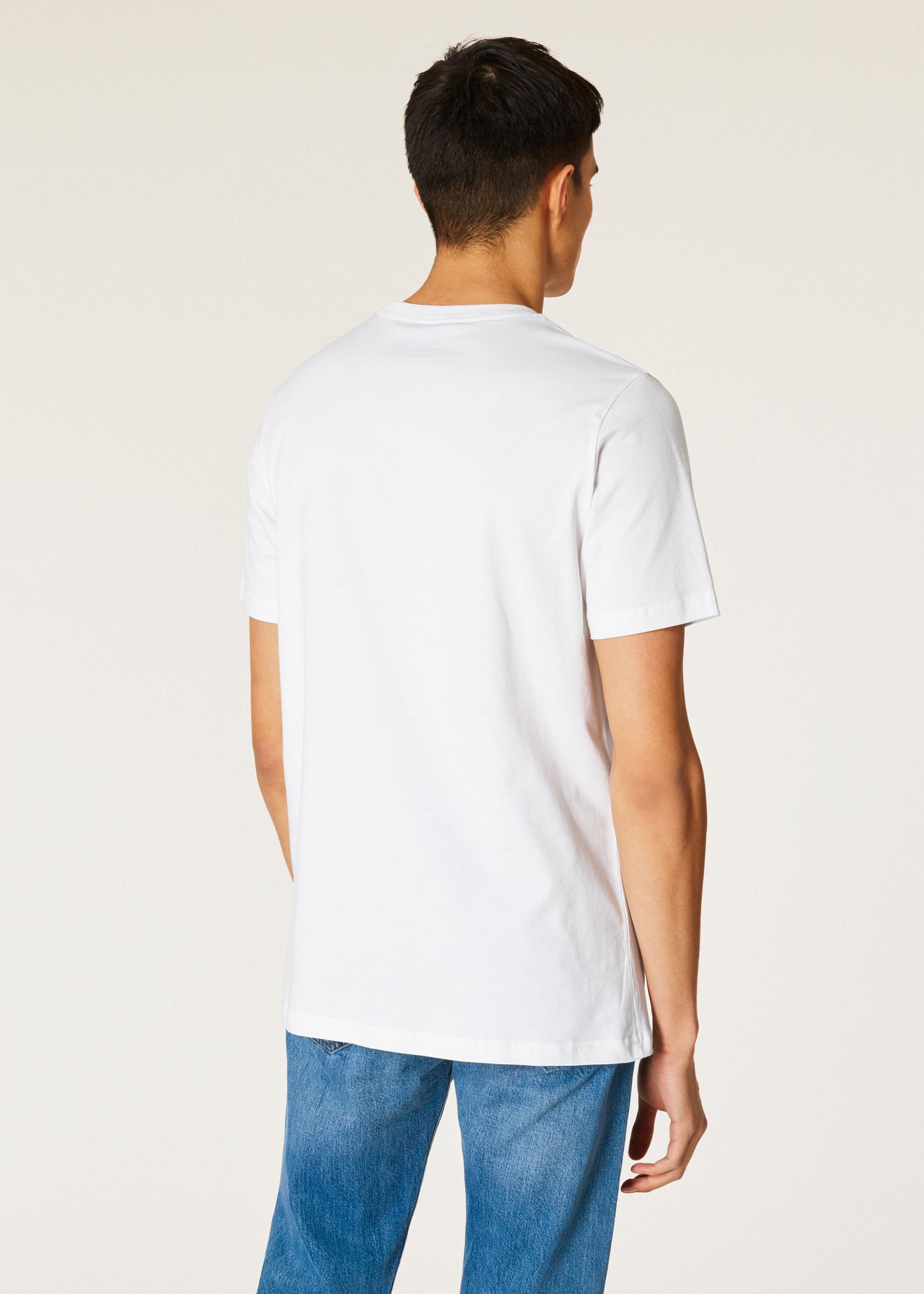 3556b4c481b3a Men s White Large Turquoise  Dino  Print Cotton T-Shirt - Paul Smith ...