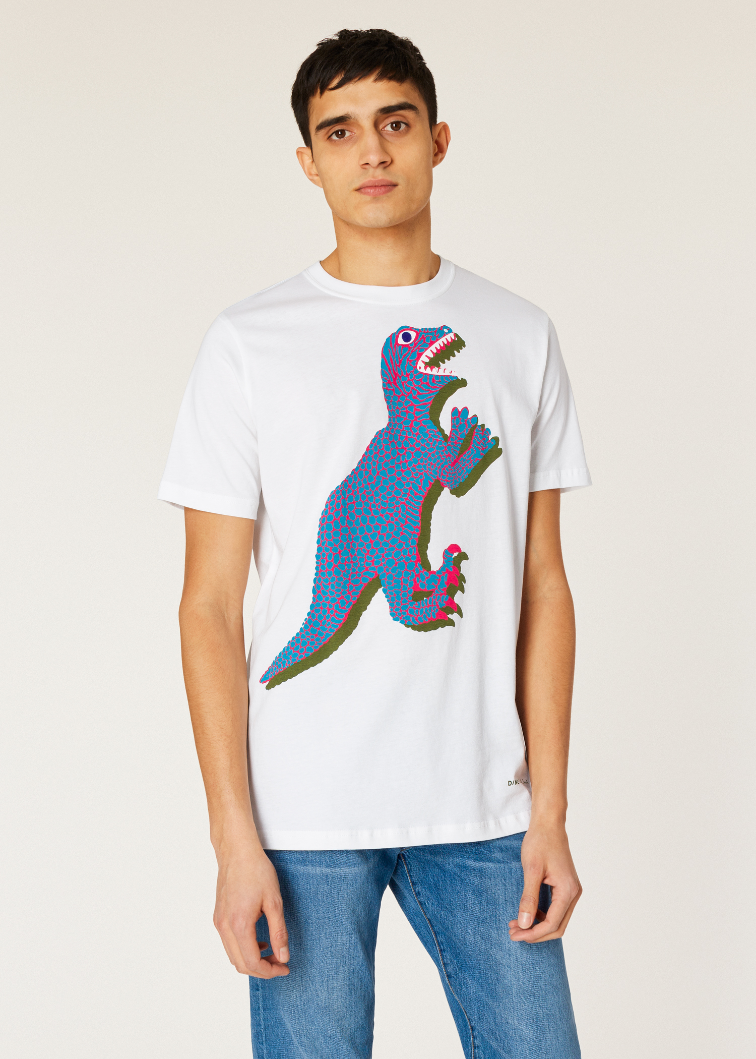 61291eb69f104 Model front close up - Men s White Large Turquoise  Dino  Print Cotton T-