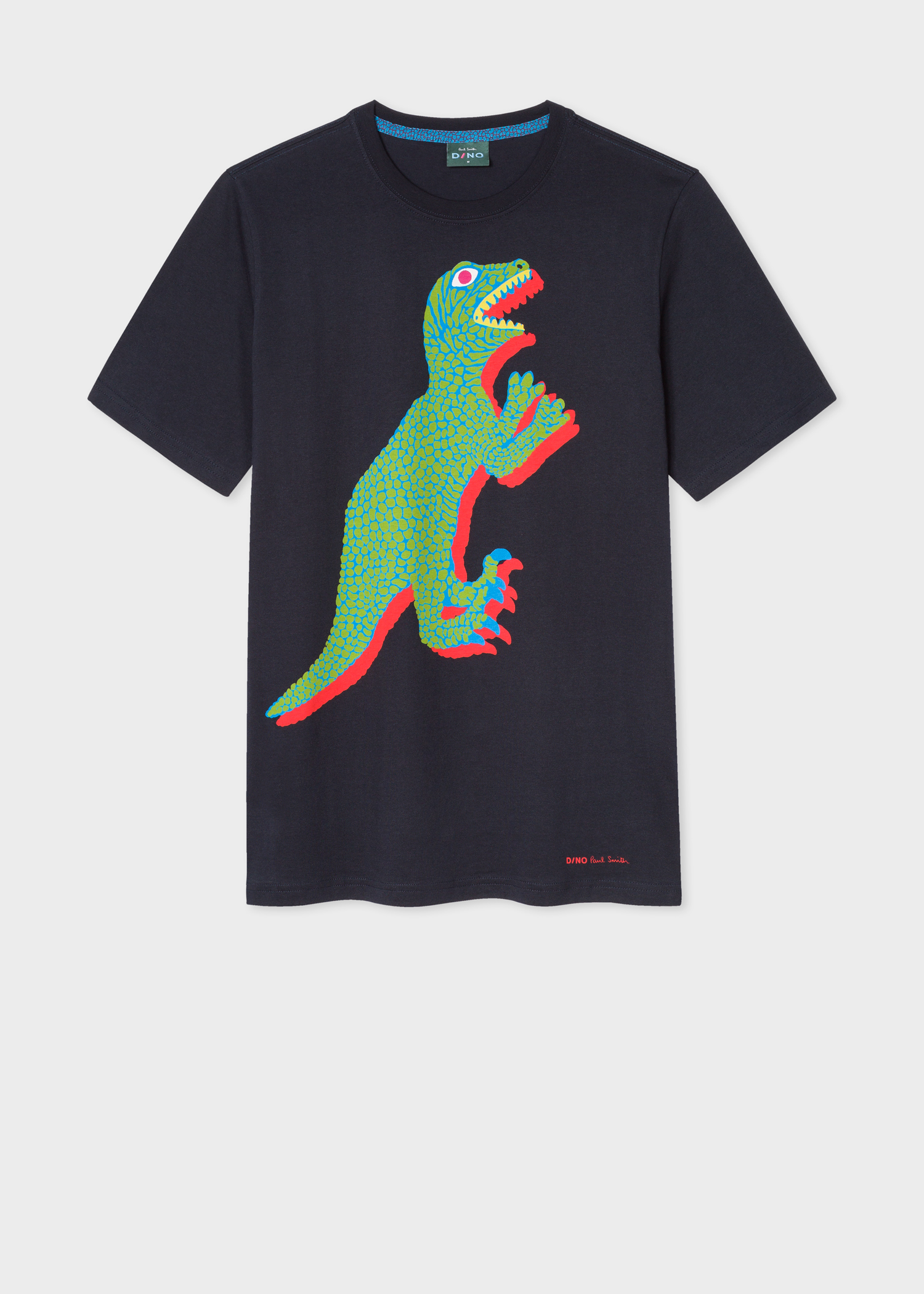 723a2e5a8adc0 Front view - Men s Black Large Green  Dino  Print Organic-Cotton T- · Model  front close up ...