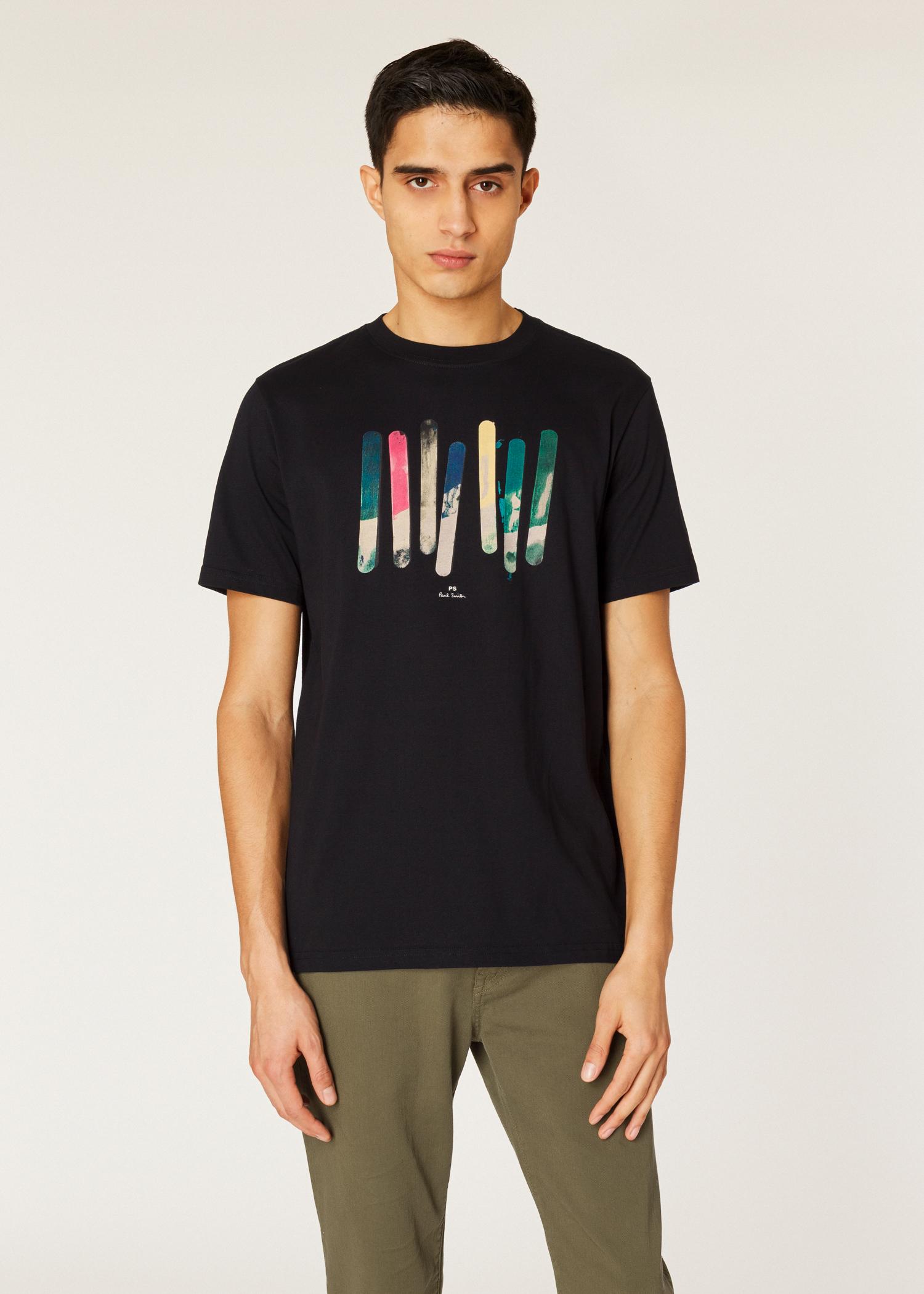 840be0fe1c5b Model front close up - Men's Black 'Paint Sticks' Print Organic-Cotton T