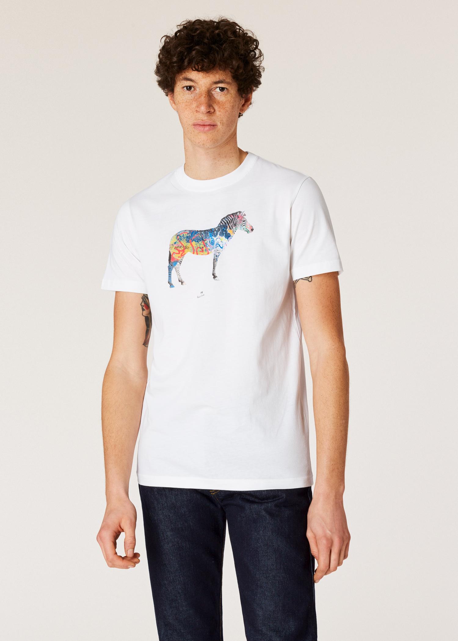 4d96be79ab Model front close up- Men's Slim-Fit White 'Graffiti Zebra' Print Organic