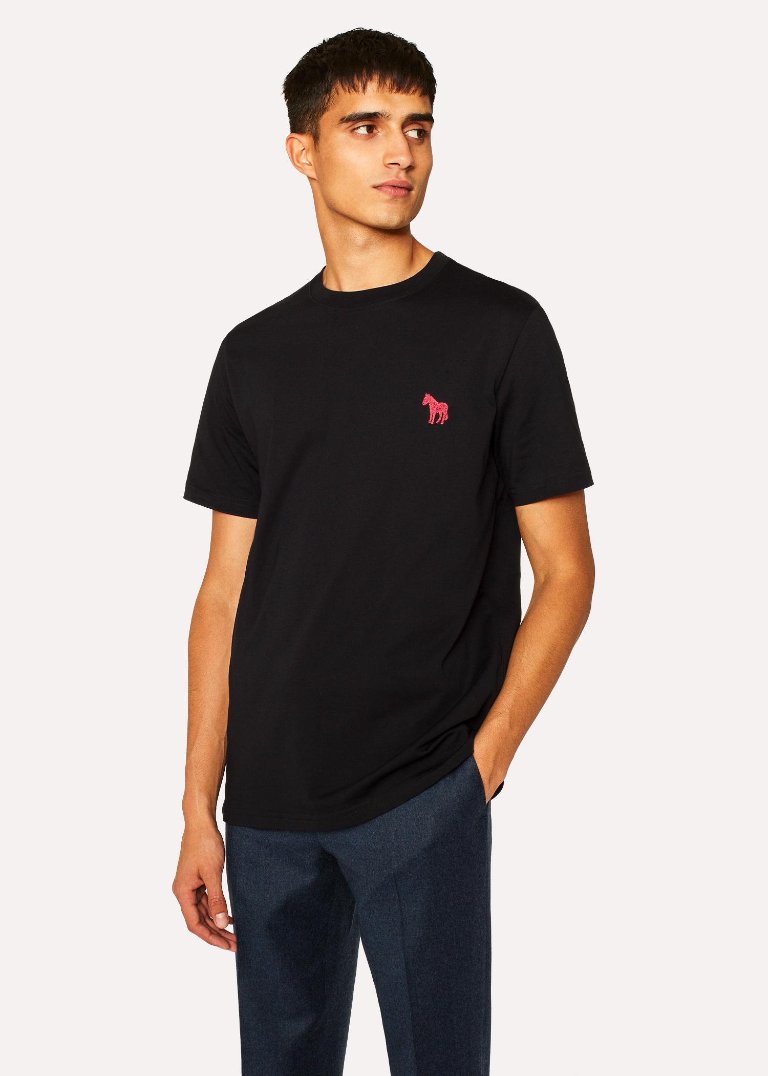 c7623d576904 Men's Black Embroidered Zebra Organic-Cotton T-Shirt - Paul Smith ...