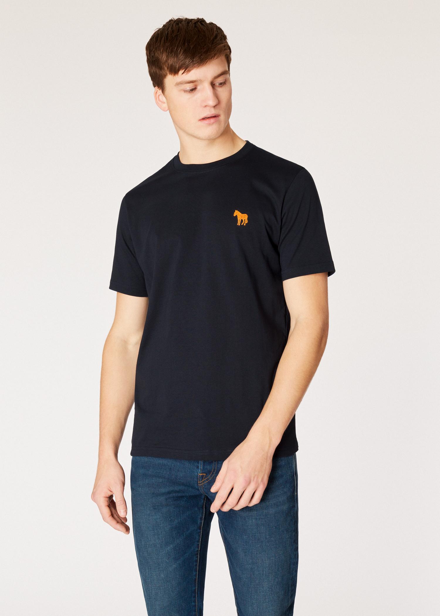 4ddf24c4da6 Men's Navy Embroidered Zebra Organic-Cotton T-Shirt - Paul Smith Asia