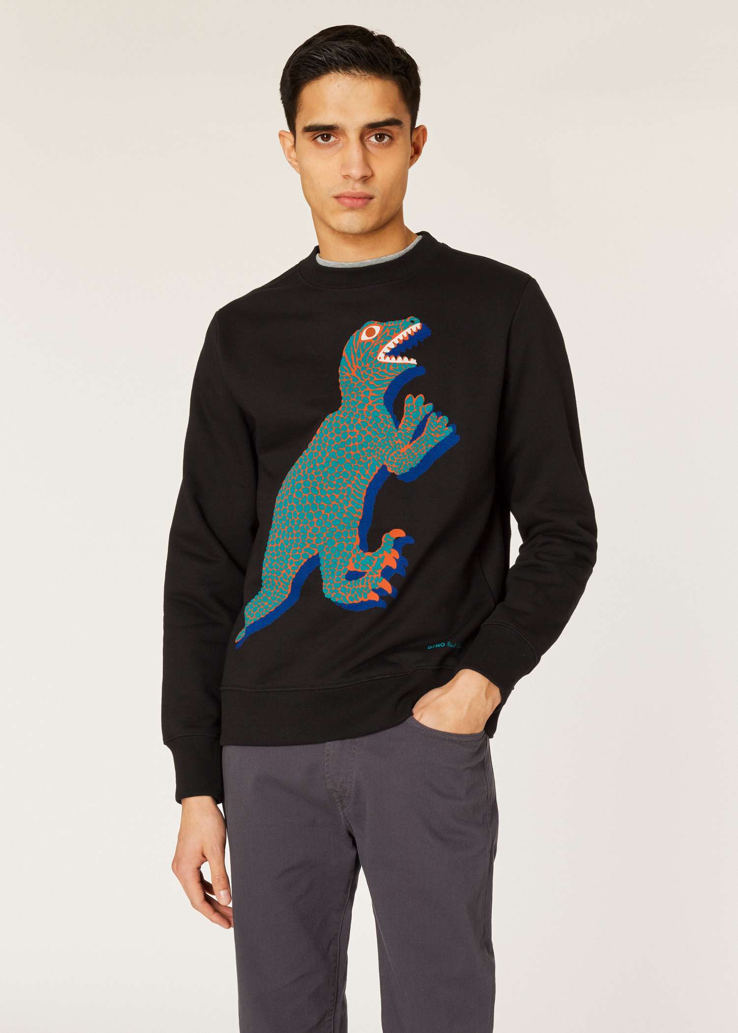 7f97f718a1fae Model front close up - Men s Black Organic-Cotton Large Dino Sweatshirt  Paul Smith