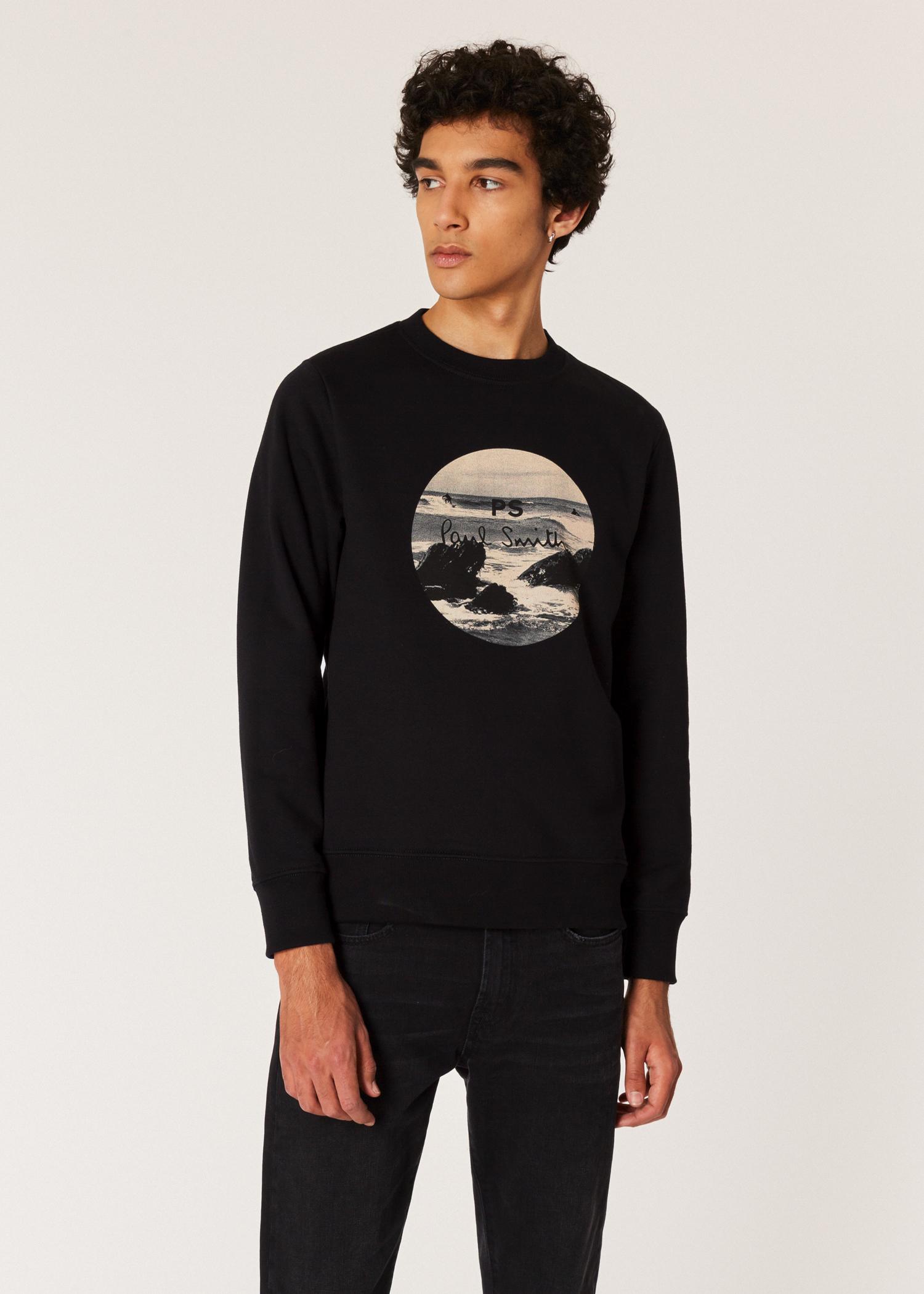 6314be6dca8 Vue mannequin face zoom - Sweatshirt Homme Noir  Circle Surf  En Coton Bio  Paul