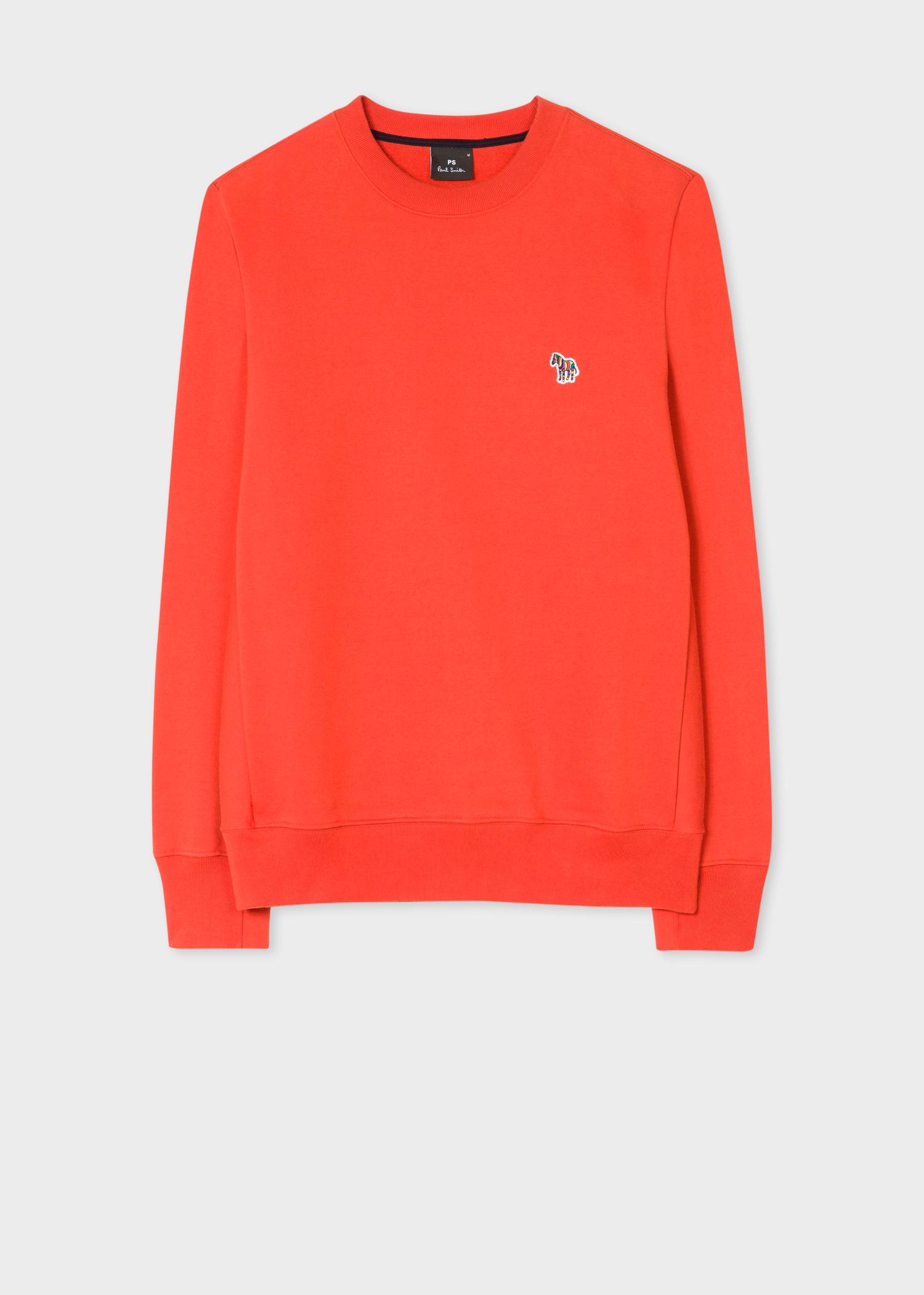 36e102d499f Vue de face - Sweatshirt Homme Orange Logo Zèbre En Coton Bio Paul Smith