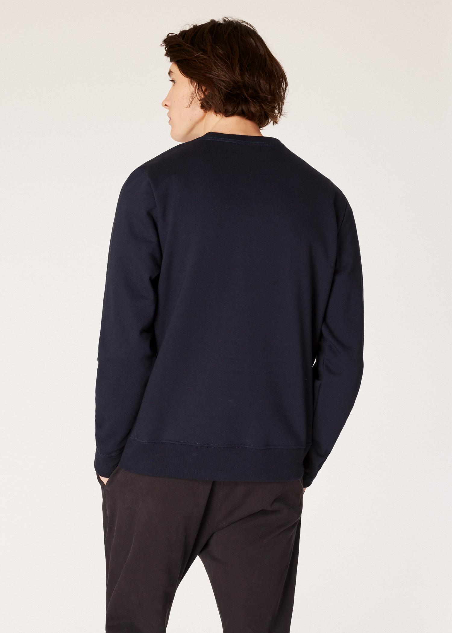 1aa48ee638 Model back close up - Men s Dark Navy Organic-Cotton Zebra Logo Sweatshirt Paul  Smith