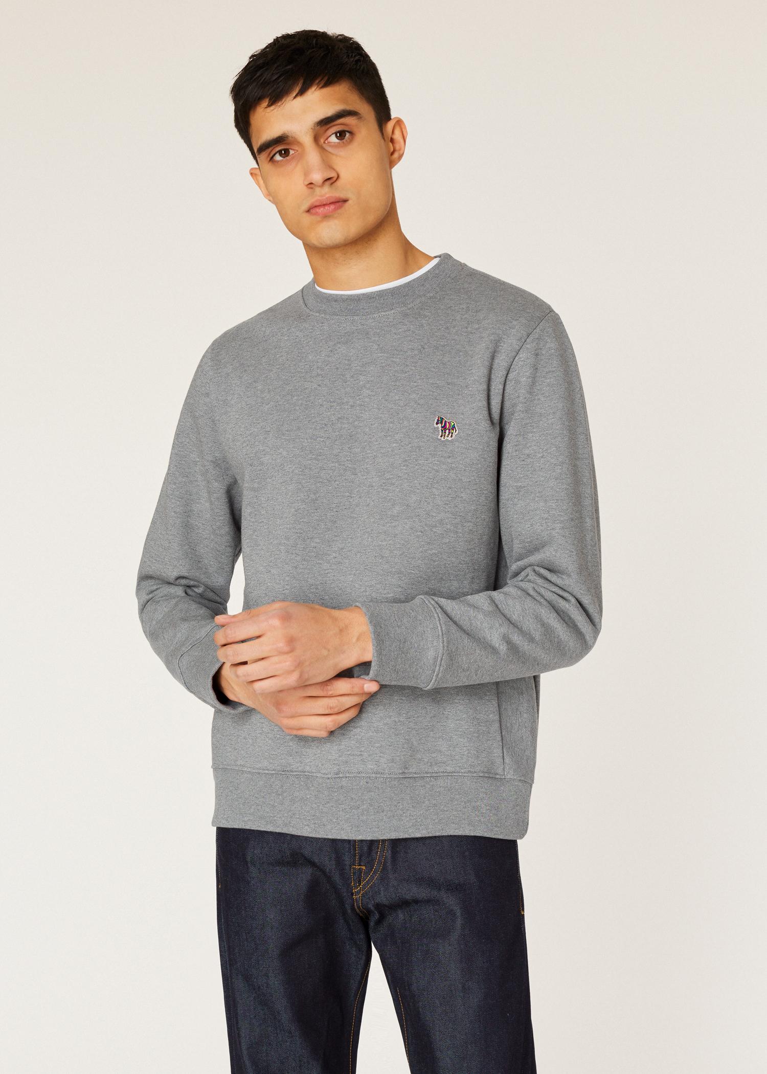 21aa16ac5 Men s Grey Marl Organic-Cotton Zebra Logo Sweatshirt by Paul Smith
