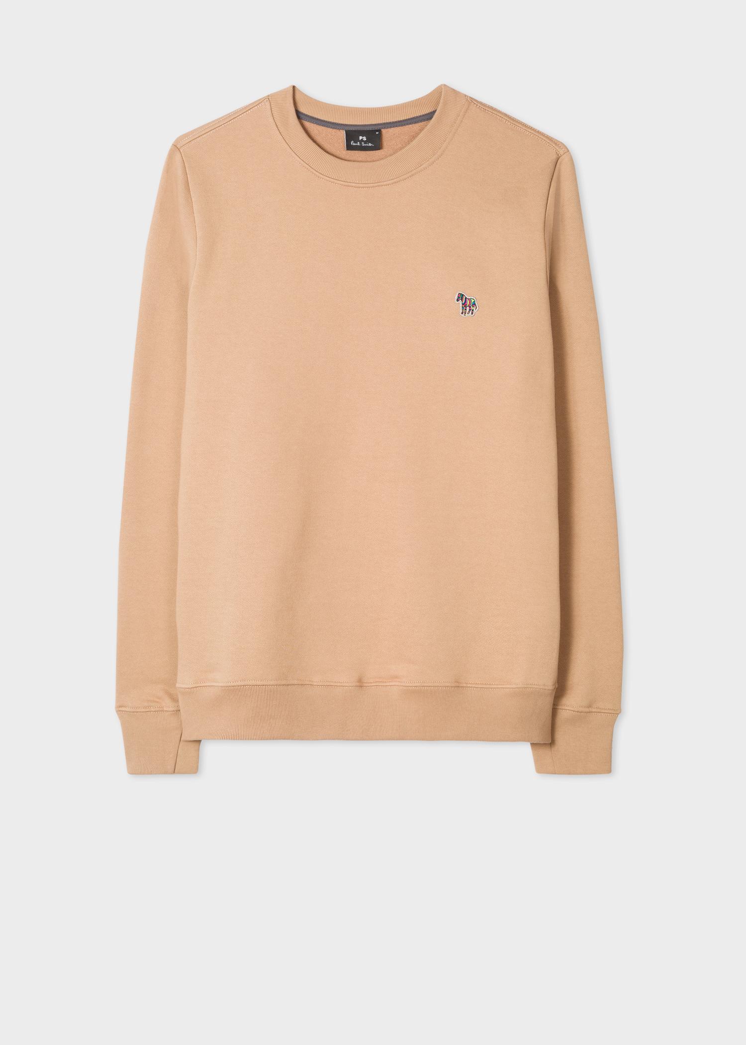 21643914a Front view - Men's Camel Organic-Cotton Zebra Logo Sweatshirt Paul Smith
