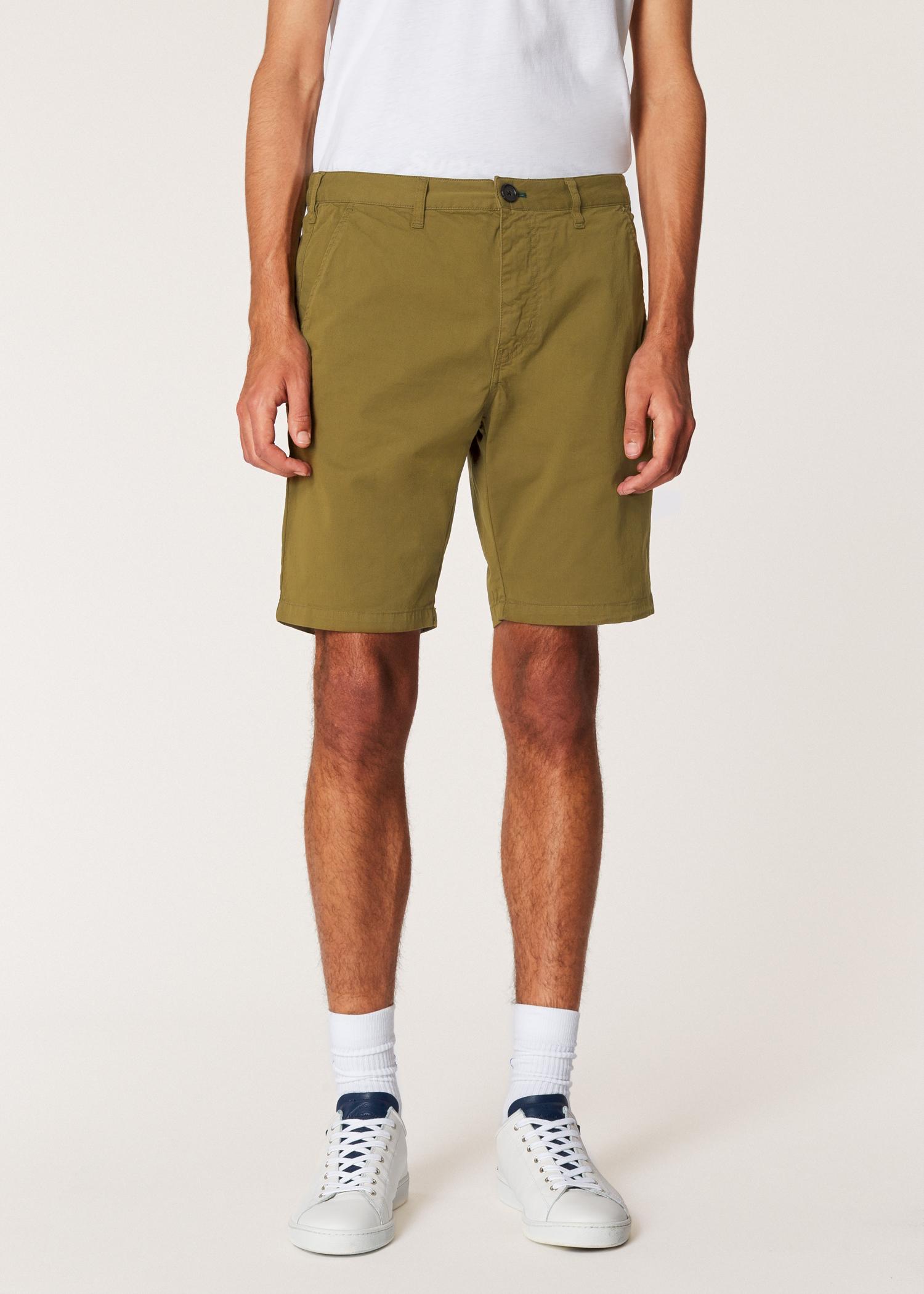 8daec68273bc9b Model front close up - Men's Khaki Garment-Dyed Stretch Pima-Cotton Shorts  Paul