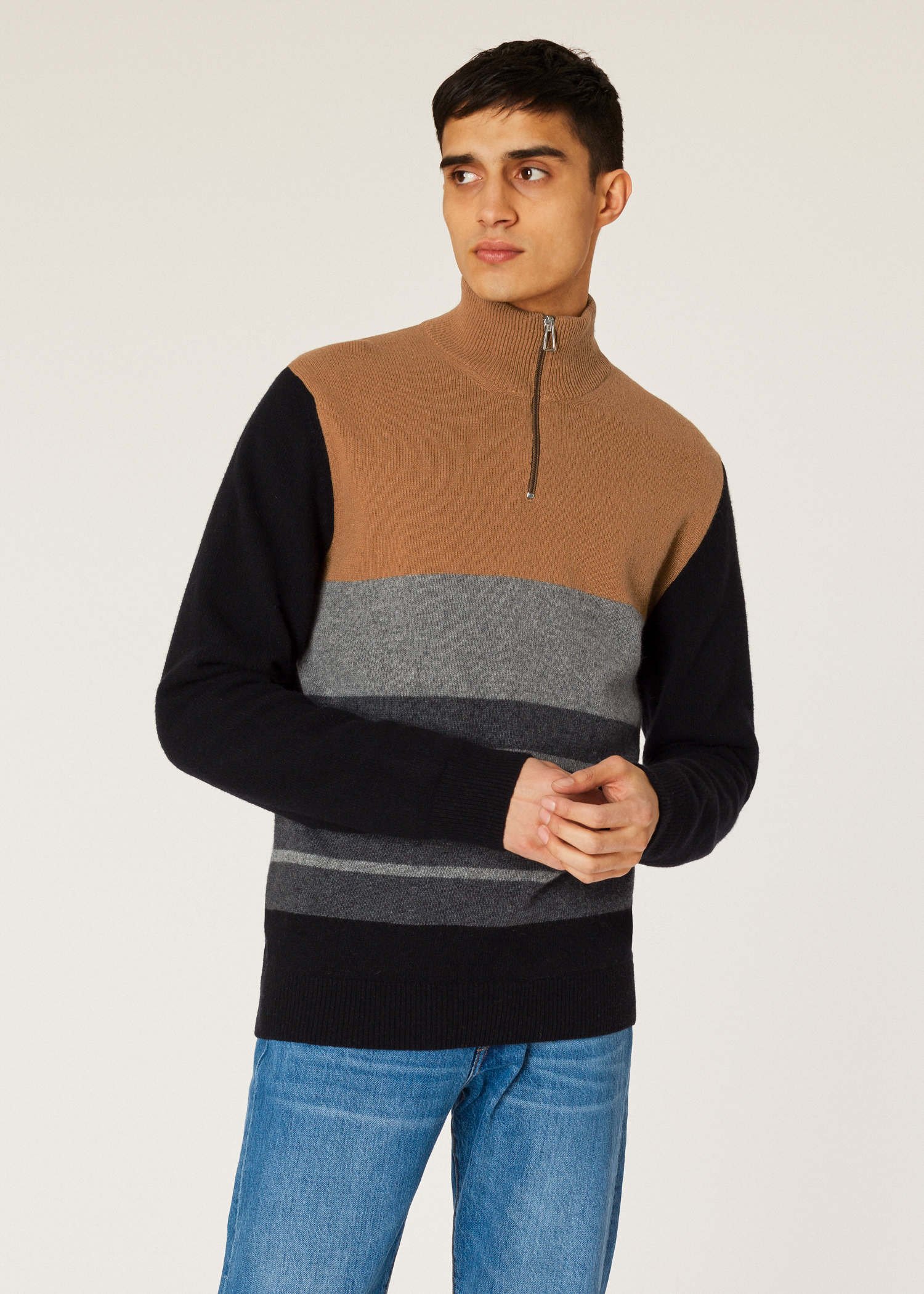 d09ebf1aad2 Men's Brown Colour-Block Funnel Neck Lambswool-Blend Half-Zip Sweater