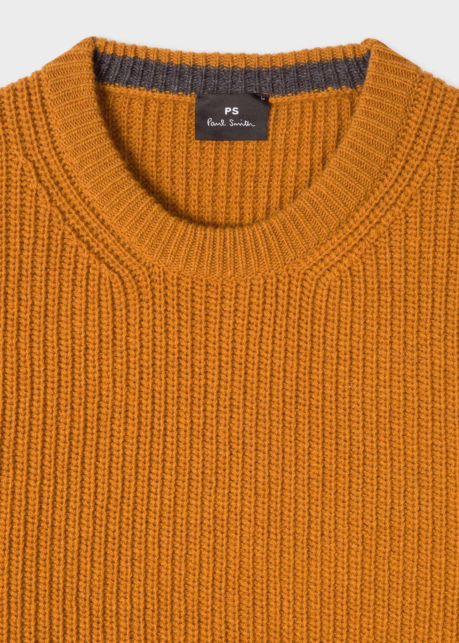 12284c63aa7900 Collar detail - Men's Mustard Ribbed Wool-Blend Sweater Paul Smith