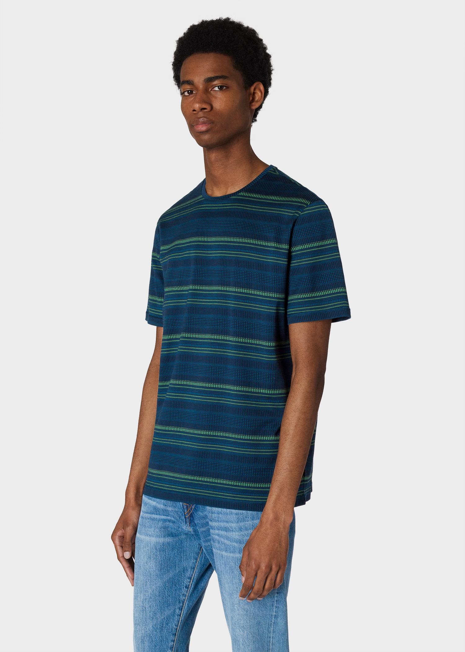 503604b3d0 Model front close up - Men's Navy Geo-Stripe Jacquard T-Shirt Paul Smith