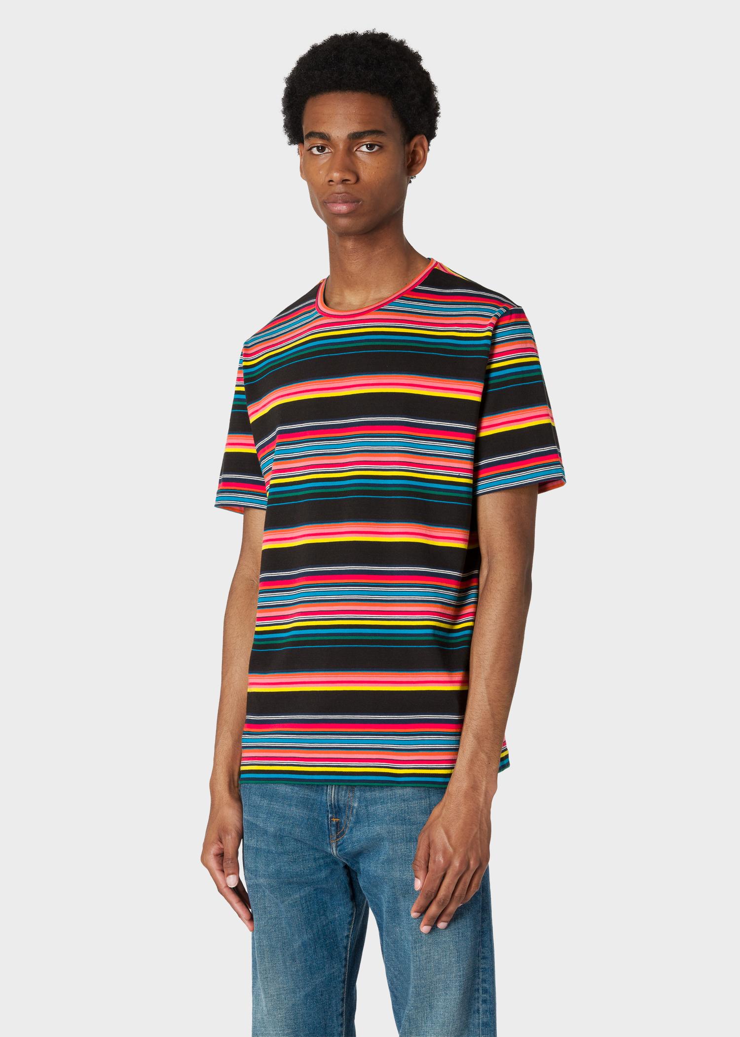 9e9fa02de142 Model front close up - Men's Black Multi-Colour Stripe Organic-Cotton T-