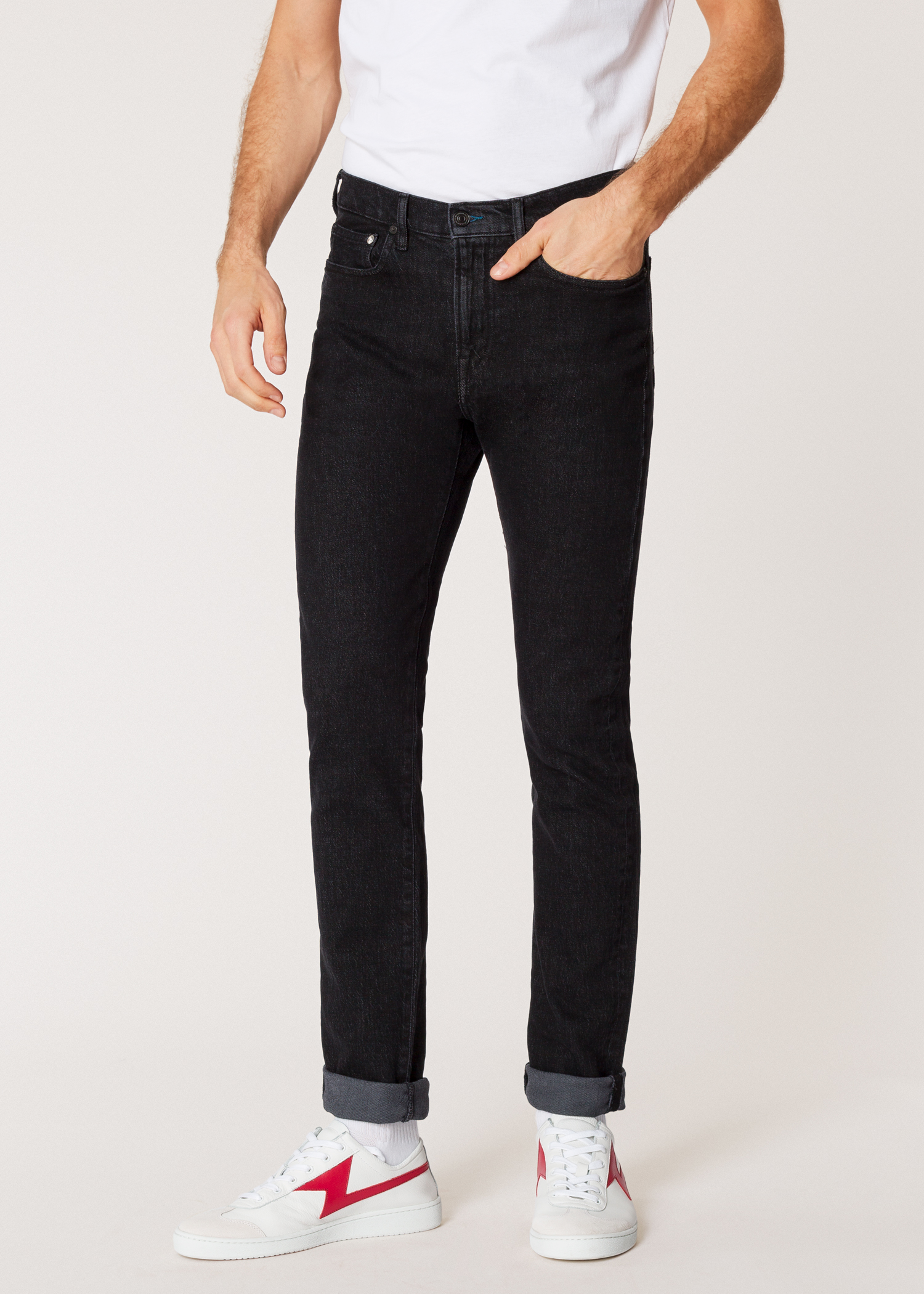 df036211 Model Front close up - Men's Slim-Fit 'Washed Stretch Black' Denim Jeans