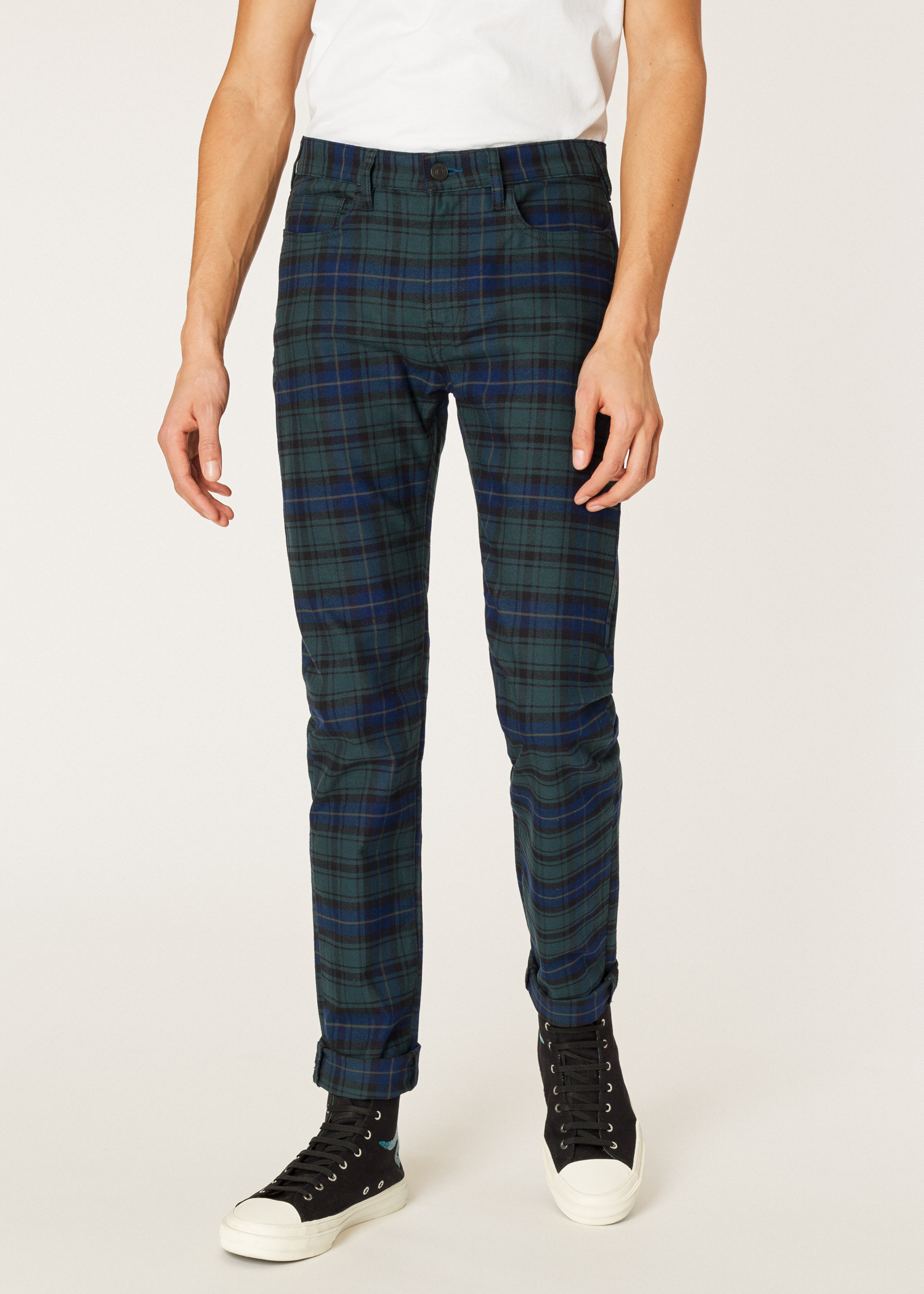 270418cf Model front close up - Men's Slim-Fit Navy And Green Check Stretch-Cotton
