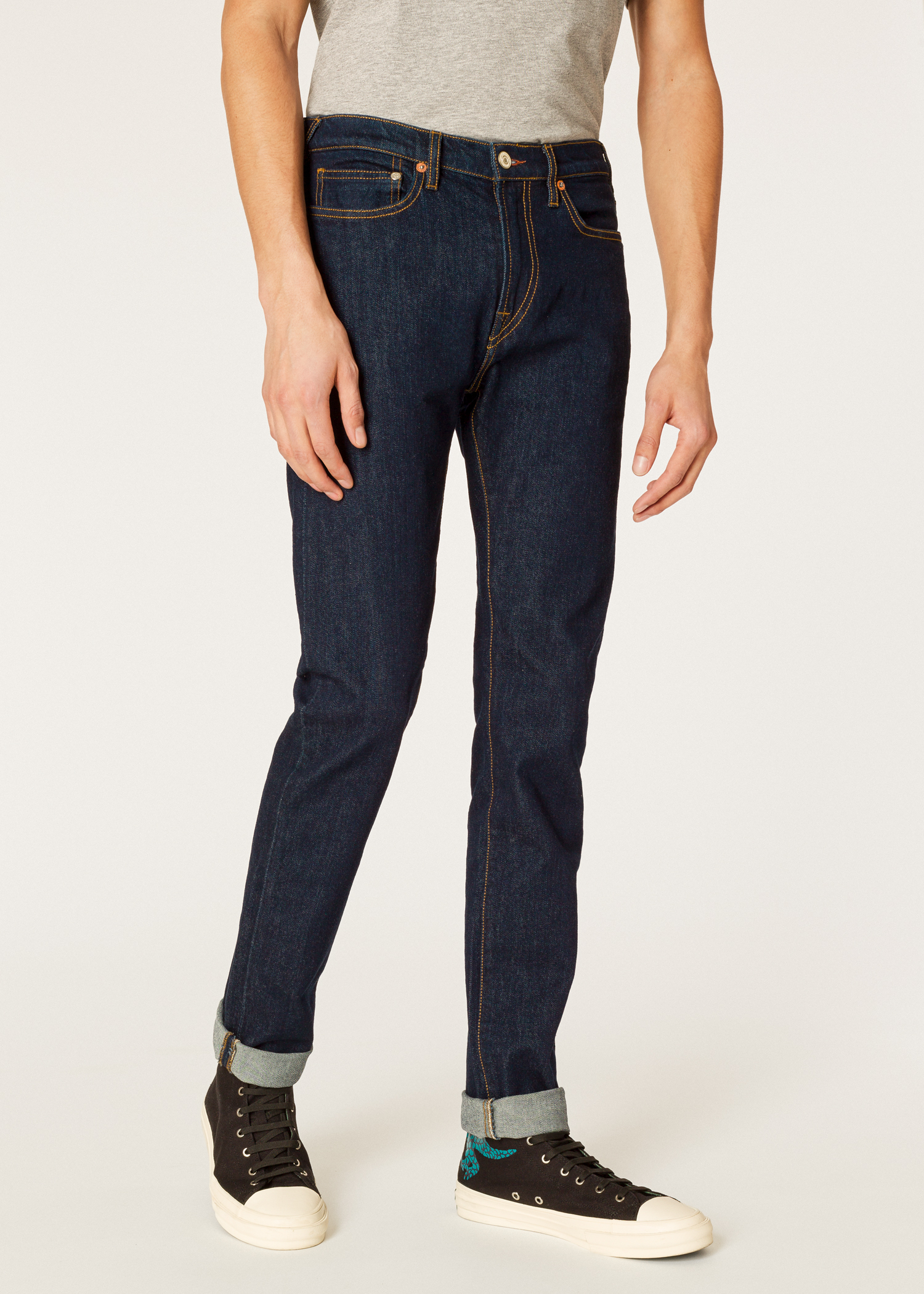 c90786ff Model front close up- Men's Slim-Fit Indigo Rinse 'Authentic Comfort Stretch '