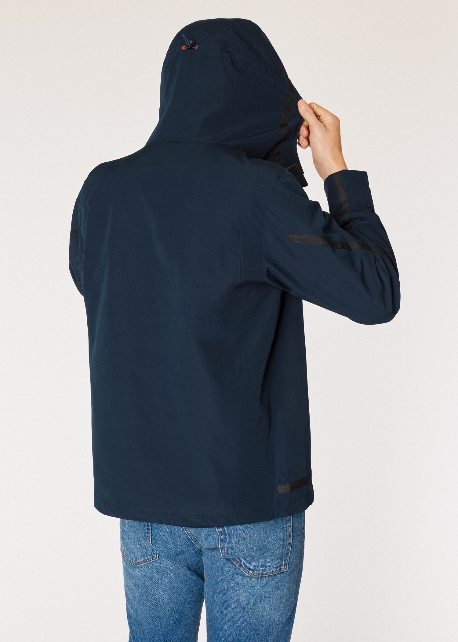 f317c1eaa35485 Model back view - Men's Navy Half-Zip Showerproof Poly-Cotton Anorak Paul  Smith
