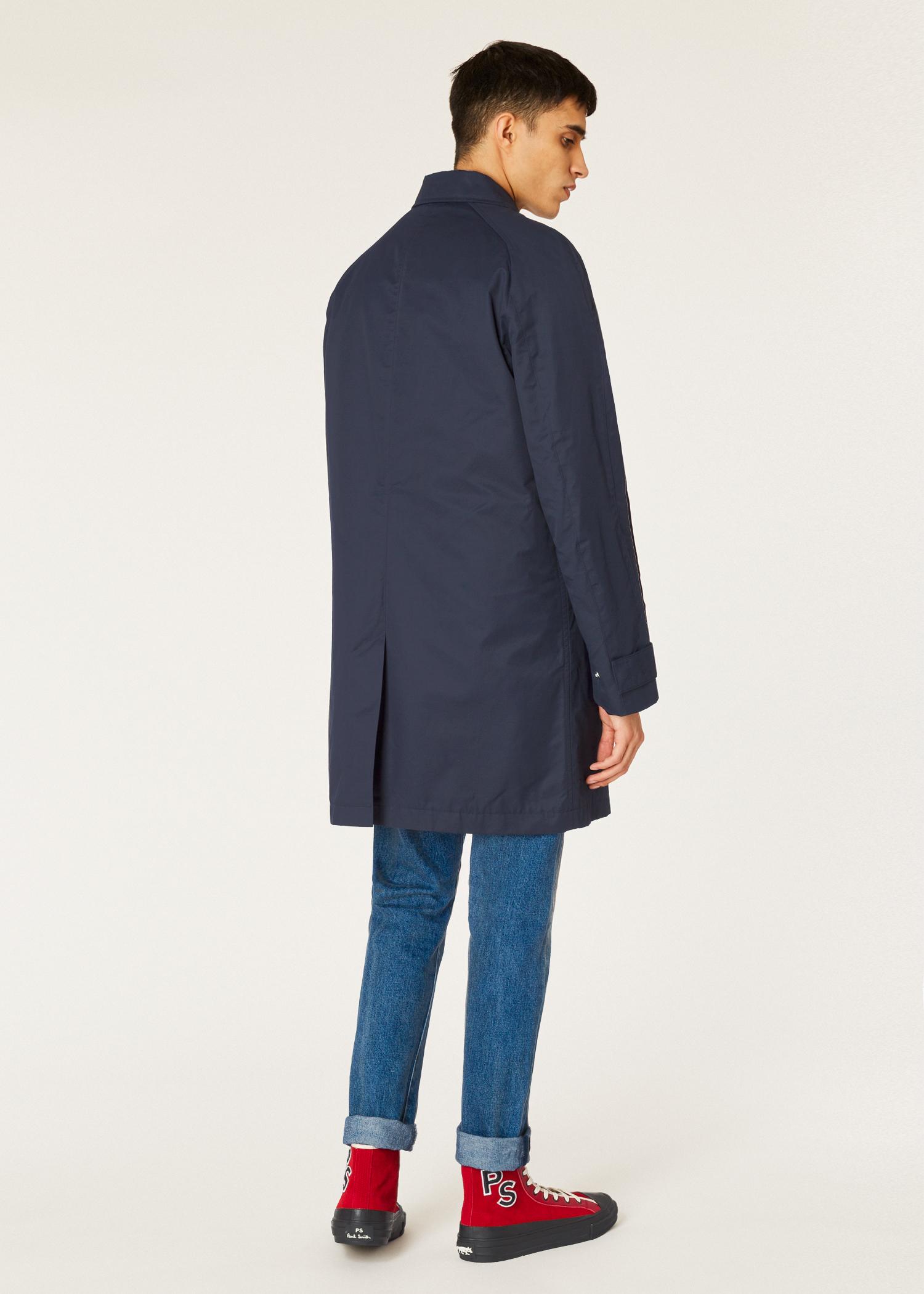 0aa6aaa235ee2 Model back view- Paul Smith Men's Navy Cotton-Blend Unlined 2-In-
