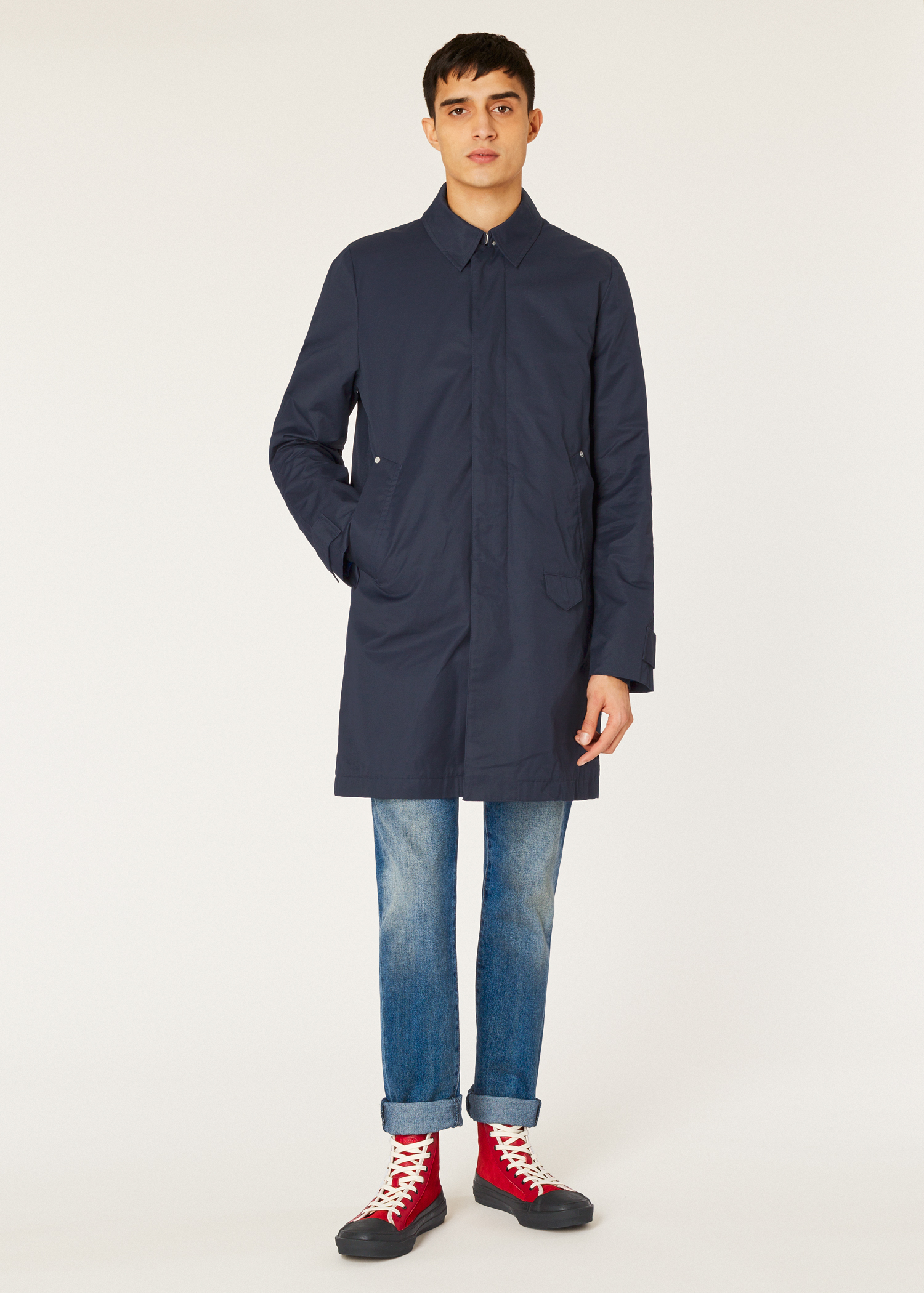 05b9304f0685d Model front view- Paul Smith Men's Navy Cotton-Blend Unlined 2-In-