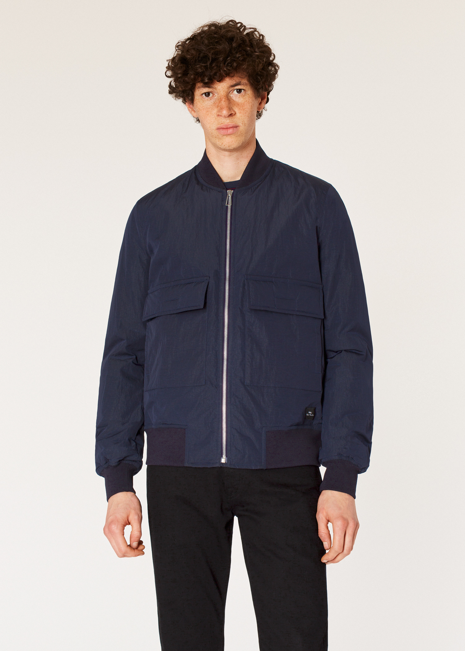 58517fdd8 Men's Navy Nylon Oversized Bomber Jacket