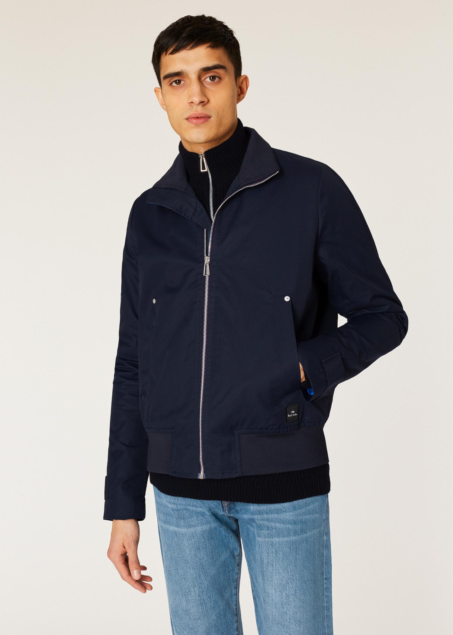 1c5a58e975faf Model front close up - Men's Navy Cotton-Blend Harrington Jacket Paul Smith