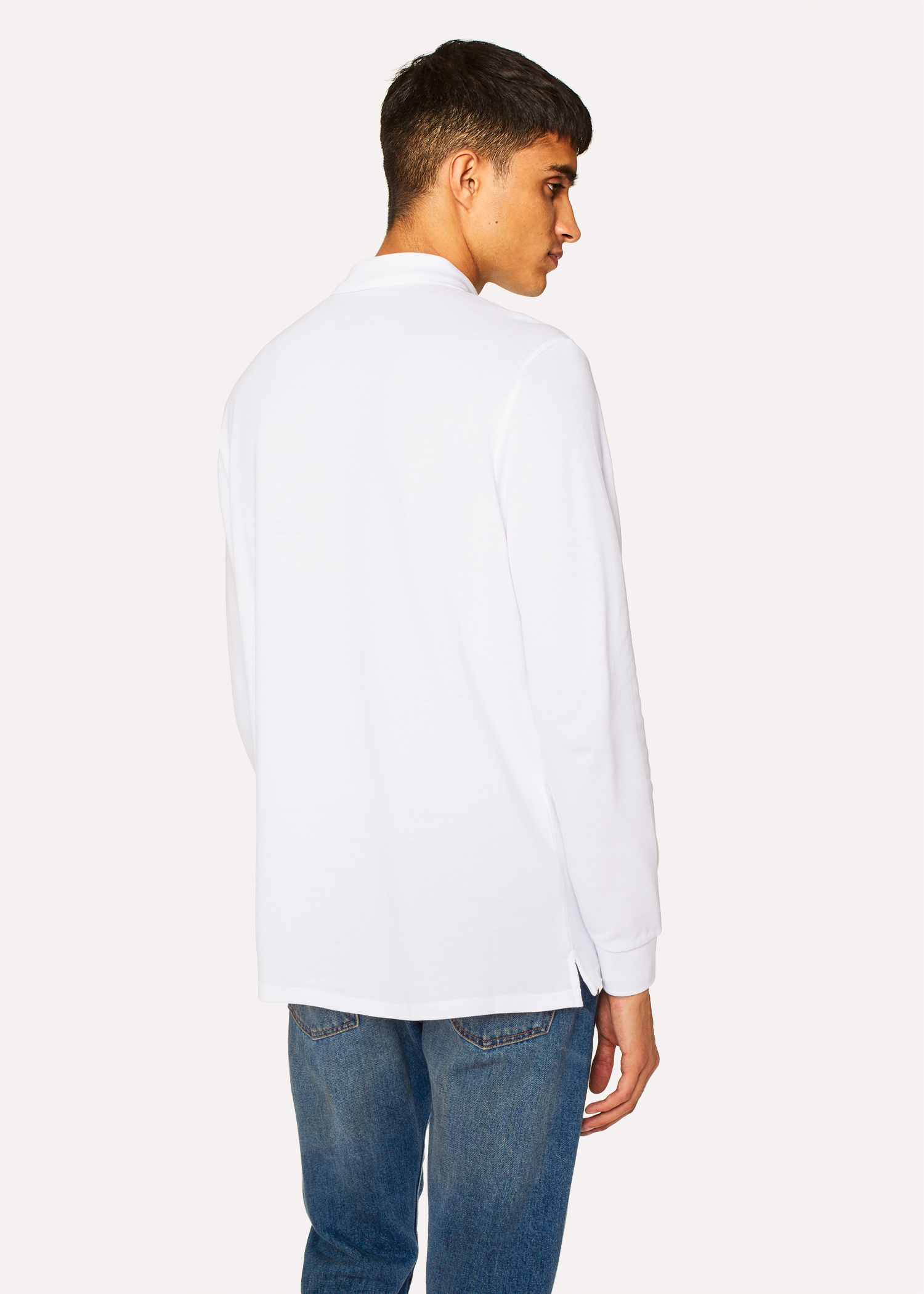 Mens White Organic Cotton Zebra Logo Long Sleeve Polo Shirt