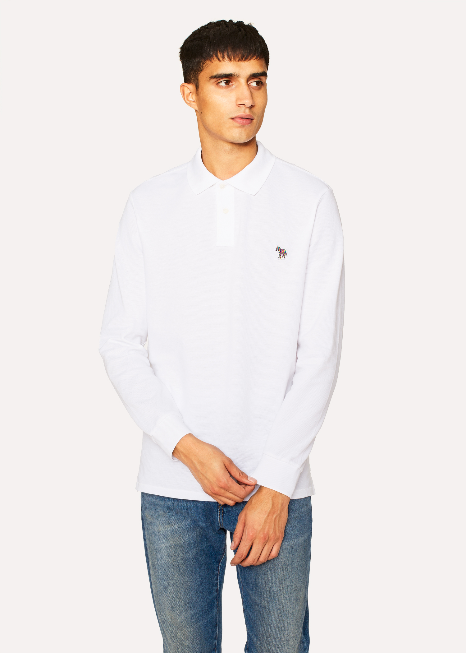 01abd925a Men's White Organic-Cotton Zebra Logo Long-Sleeve Polo Shirt by Paul Smith
