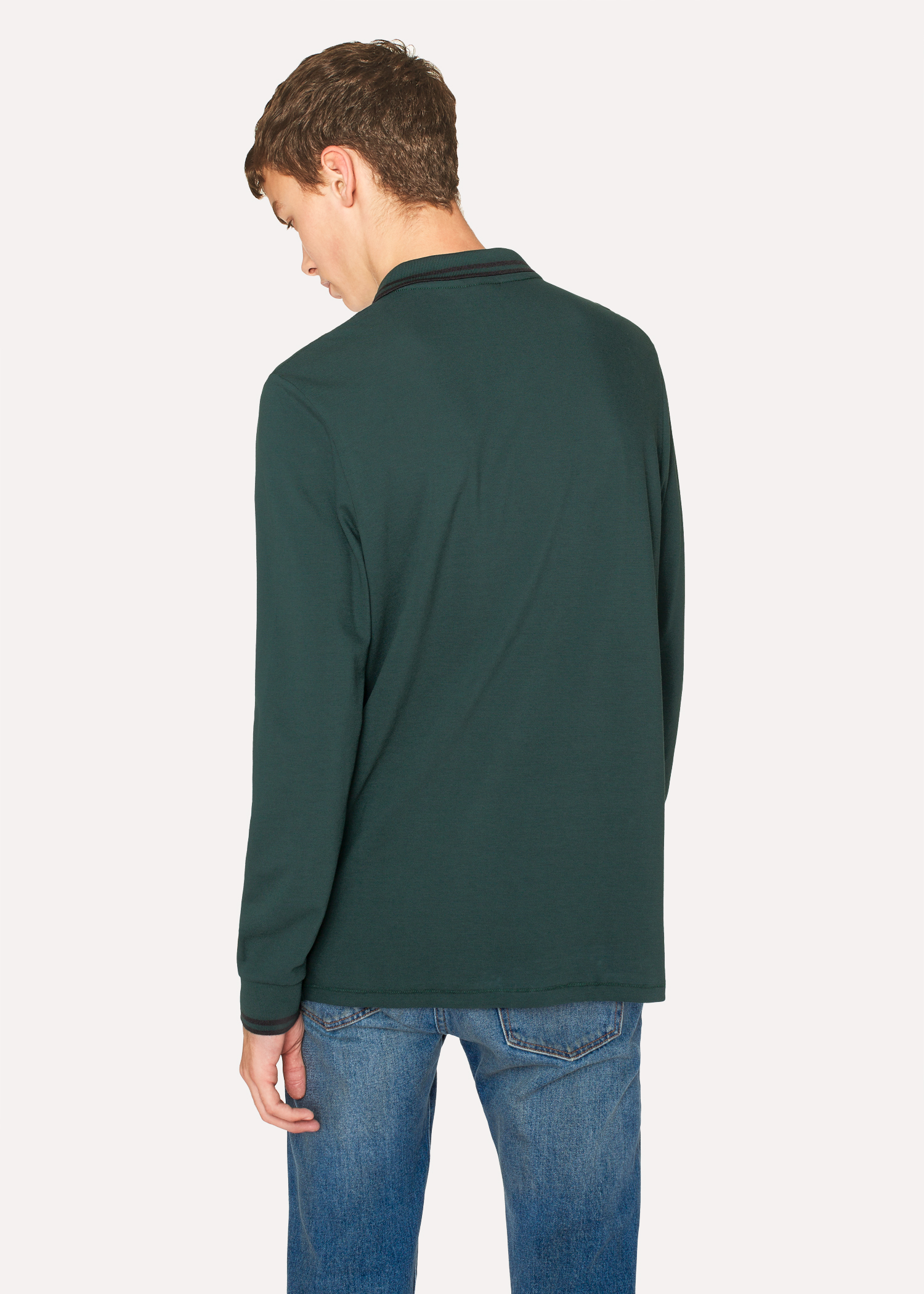 Men s Green Zebra Long-Sleeve Polo Shirt With Black Tipping - Paul ... 2ab7fbea0328