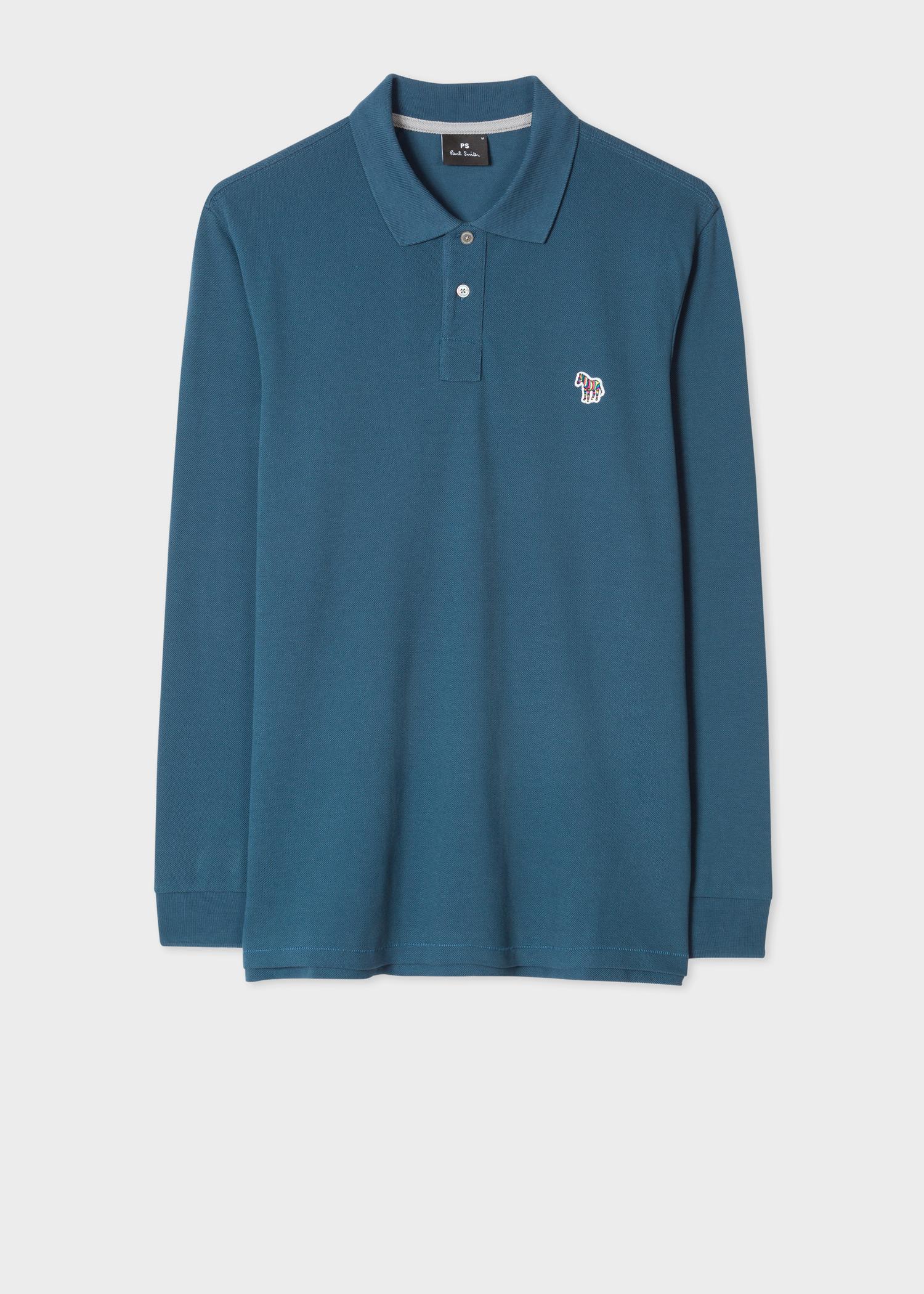 Mens Dark Teal Organic Cotton Zebra Long Sleeve Polo Shirt