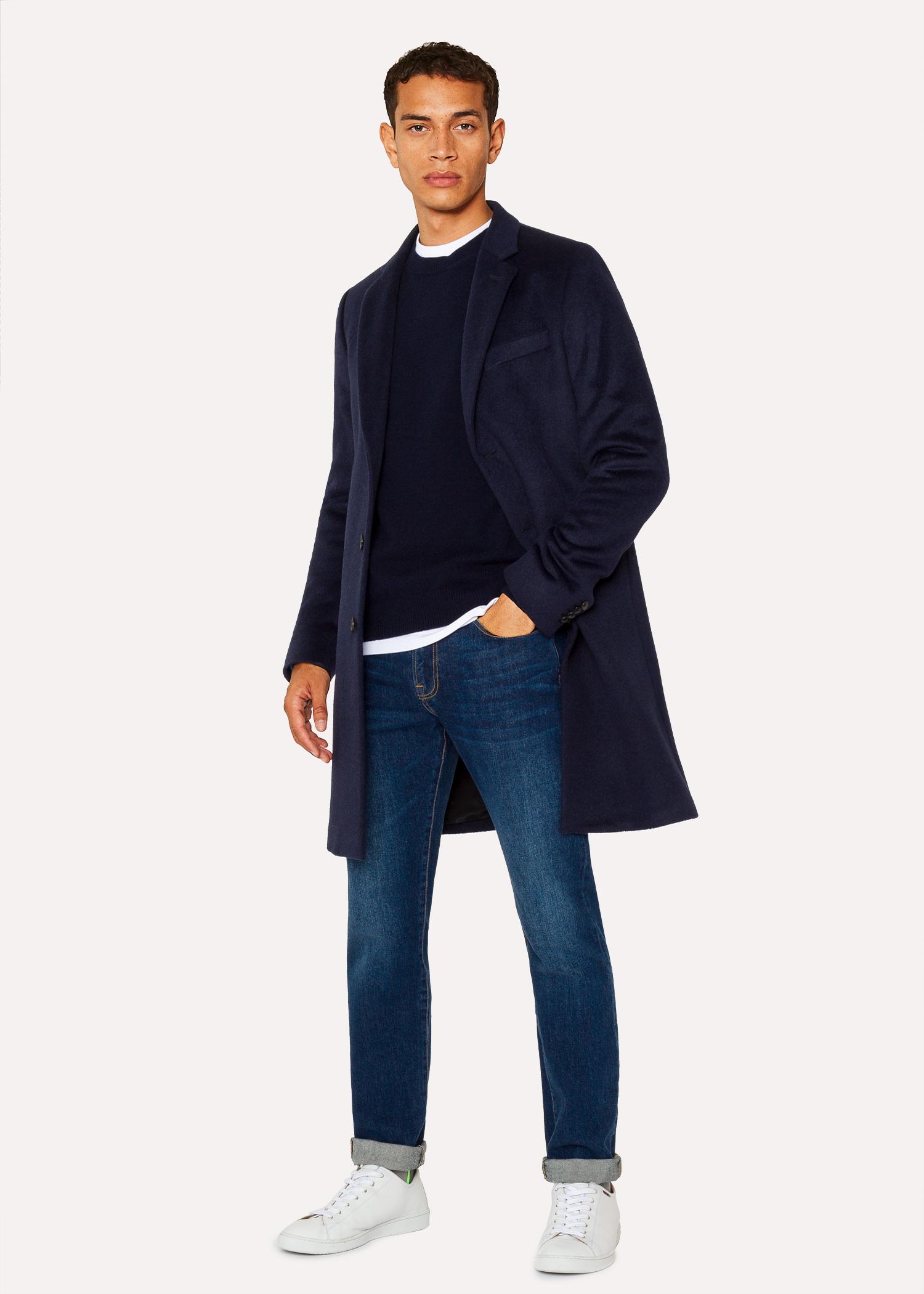 manteau homme bleu marine fonc en alpaga et laine paul. Black Bedroom Furniture Sets. Home Design Ideas