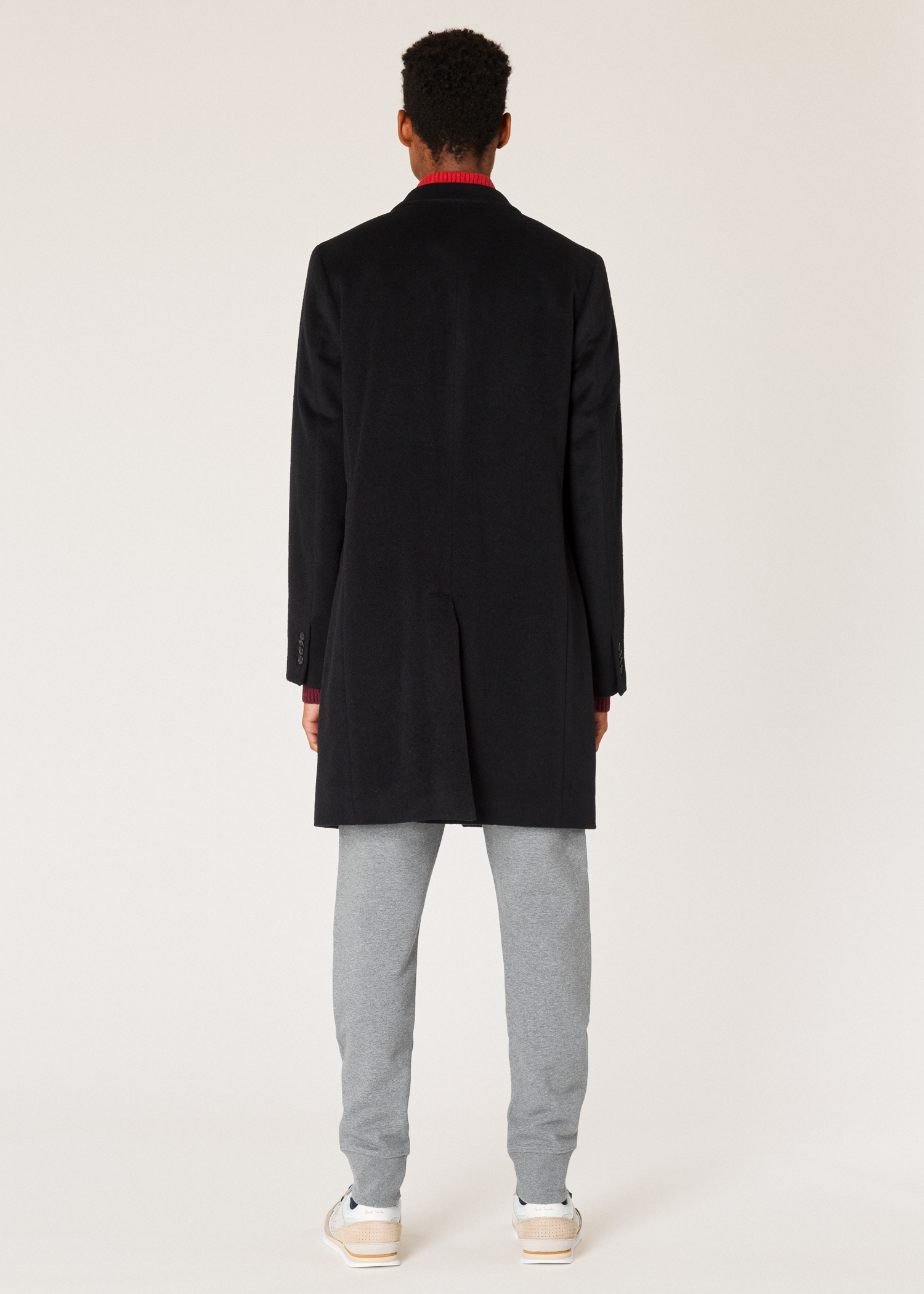 79336c43eb9 Men s Black Alpaca-Wool Blend Overcoat - Paul Smith US